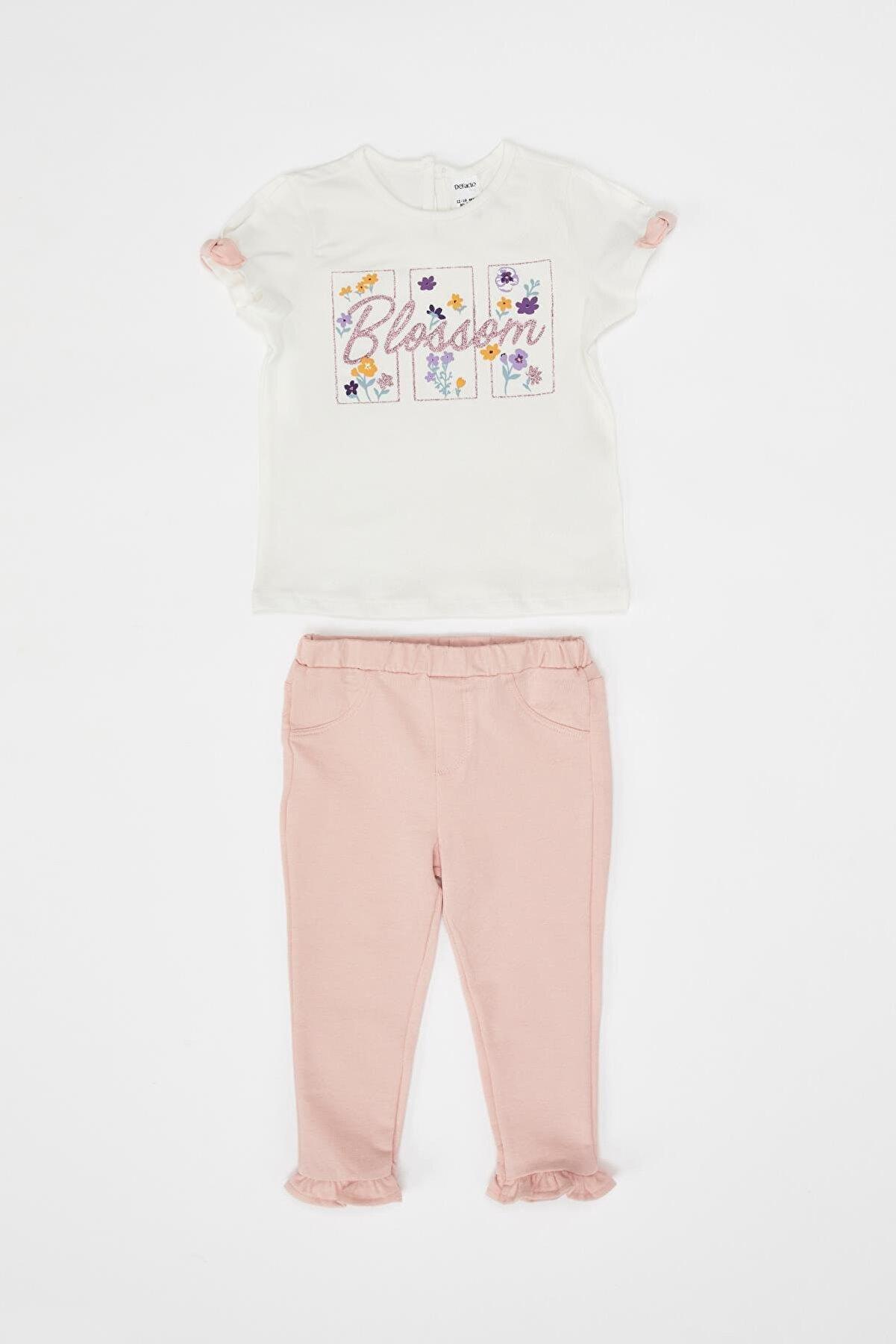 Defacto Kız Bebek Çiçek Baskılı Bluz ve Alt Takım