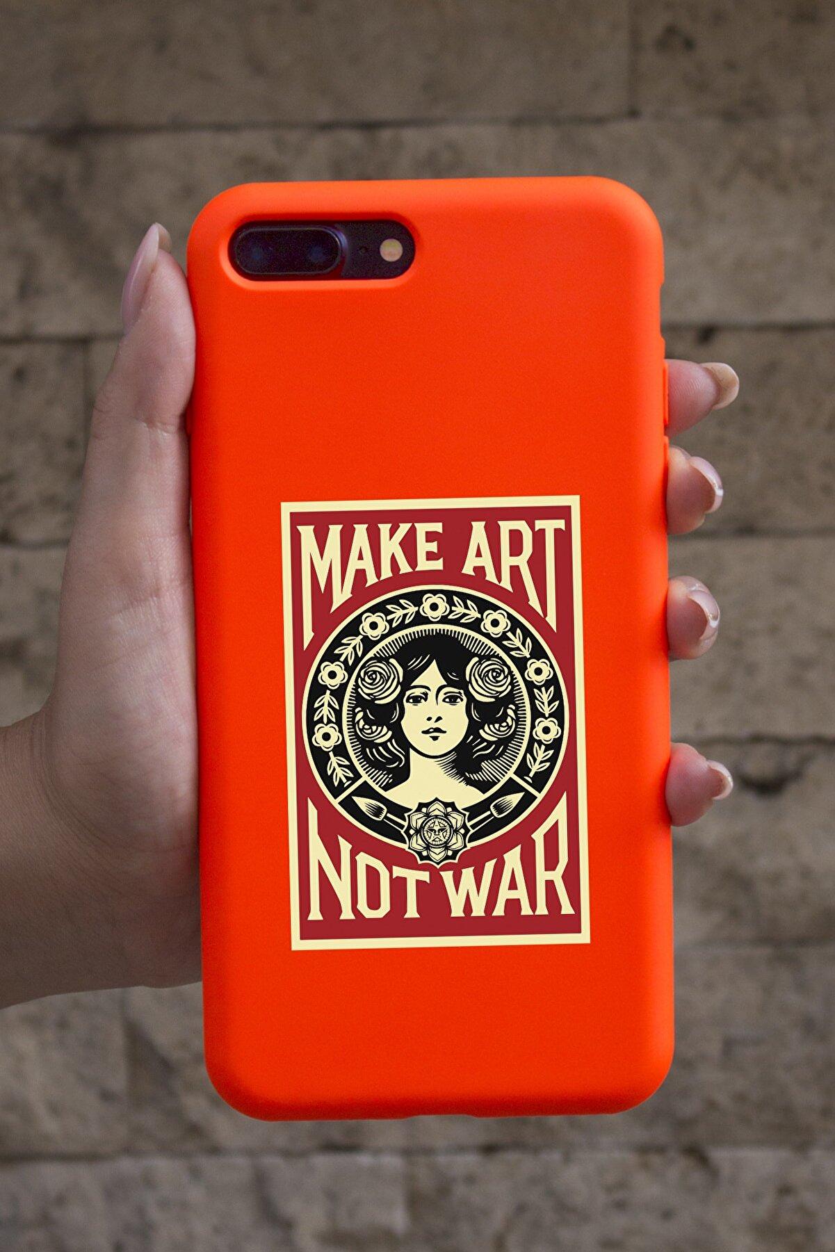 shoptocase Iphone 7 Plus Fosforlu Turuncu Make Art Not War Desenli Telefon Kılıfı