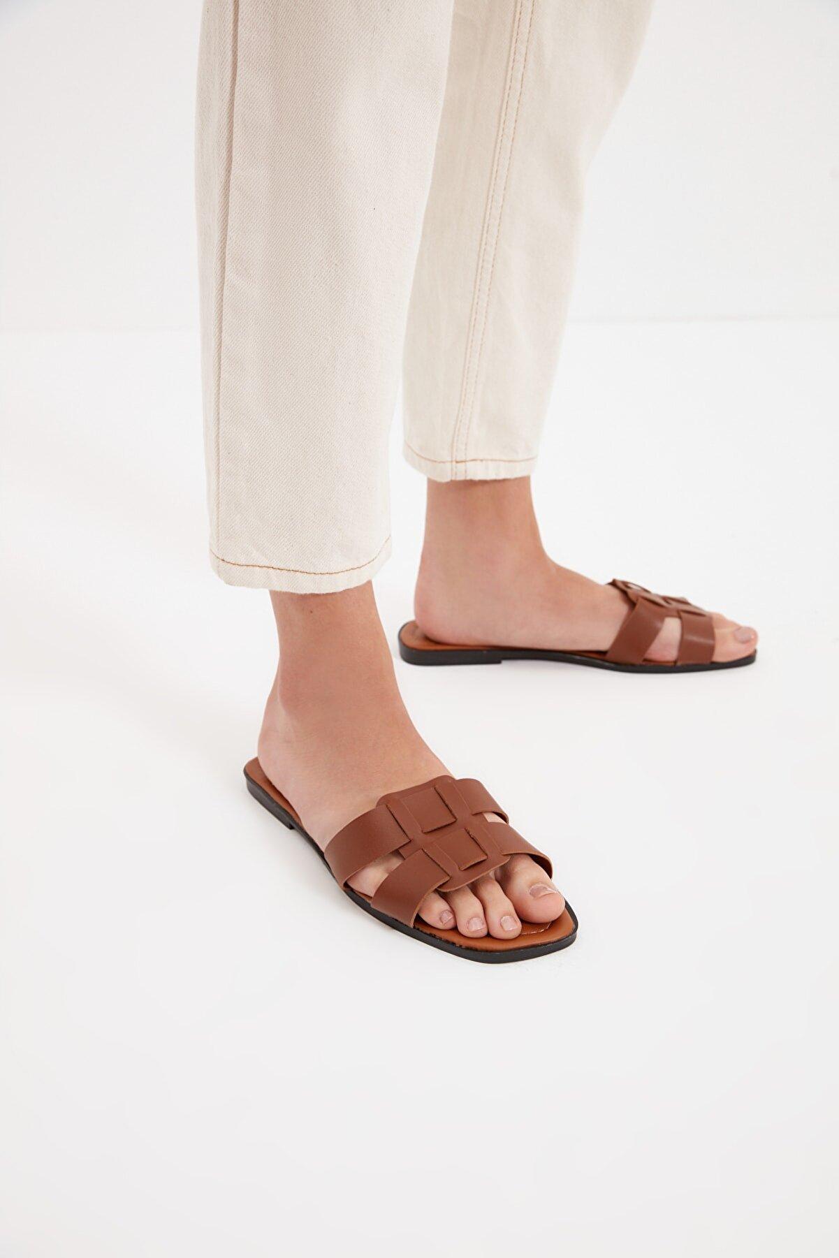 Trendyol Shoes Taba Kadın Terlik TAKSS21TE0014