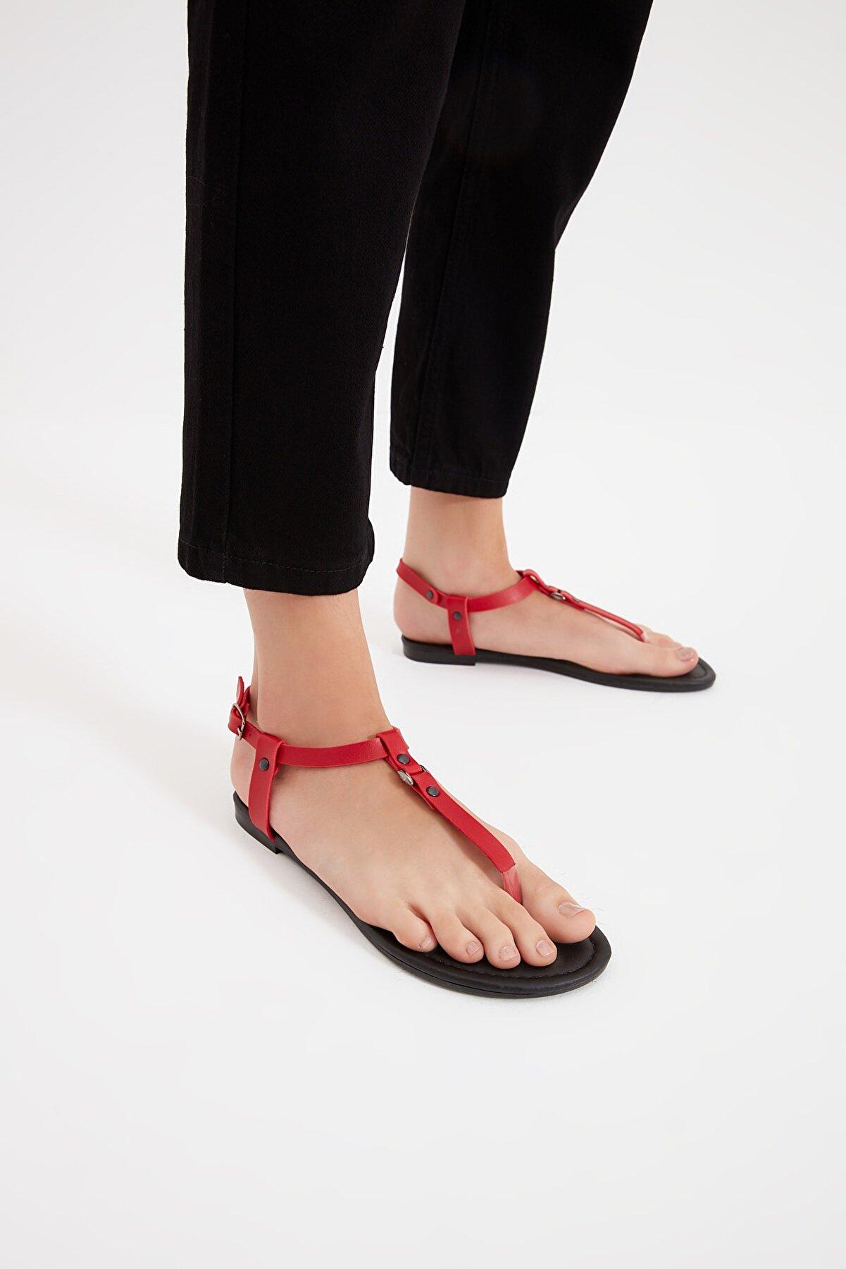 Trendyol Shoes Kırmızı Kadın Sandalet TAKSS21SD0046