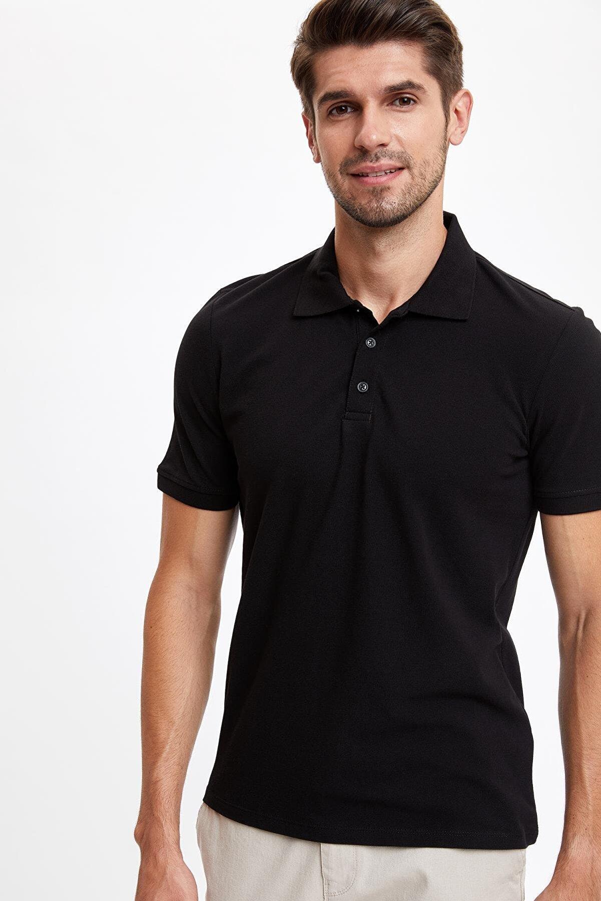 Defacto Erkek Siyah Regular Fit Polo Yaka Basic Kısa Kollu Siyah Tişört M7676AZ20SPBK
