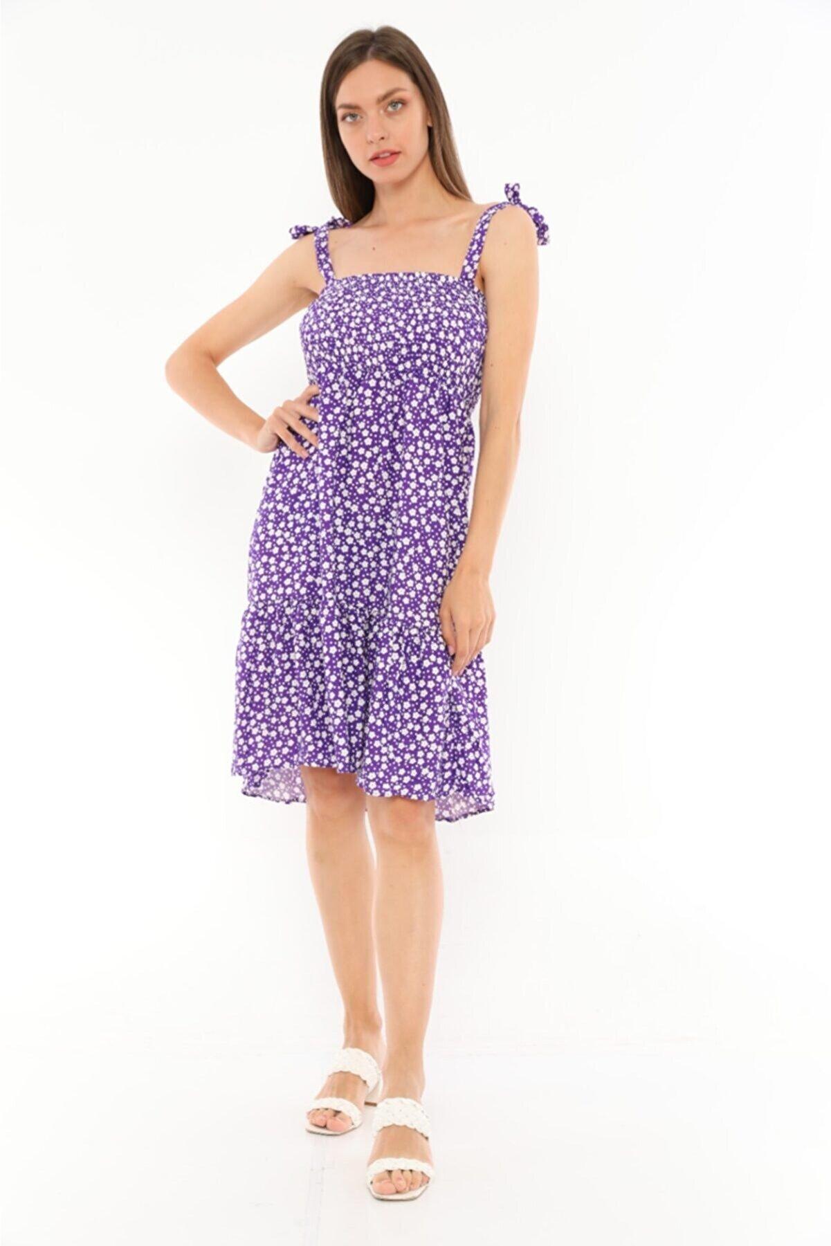 MadeModa Kadın Çiçek Desenli Askılı Midi Boy Elbise