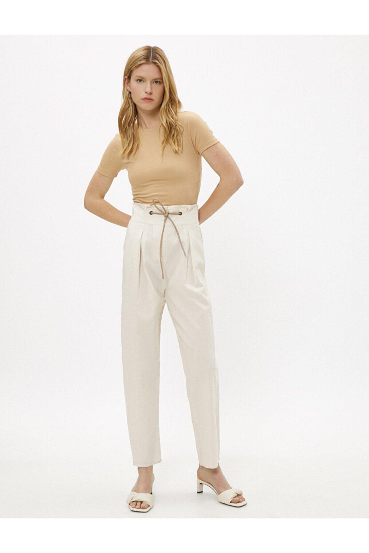 Koton Kadın Ekru Keten Pantolon Belden Baglamali Jeans