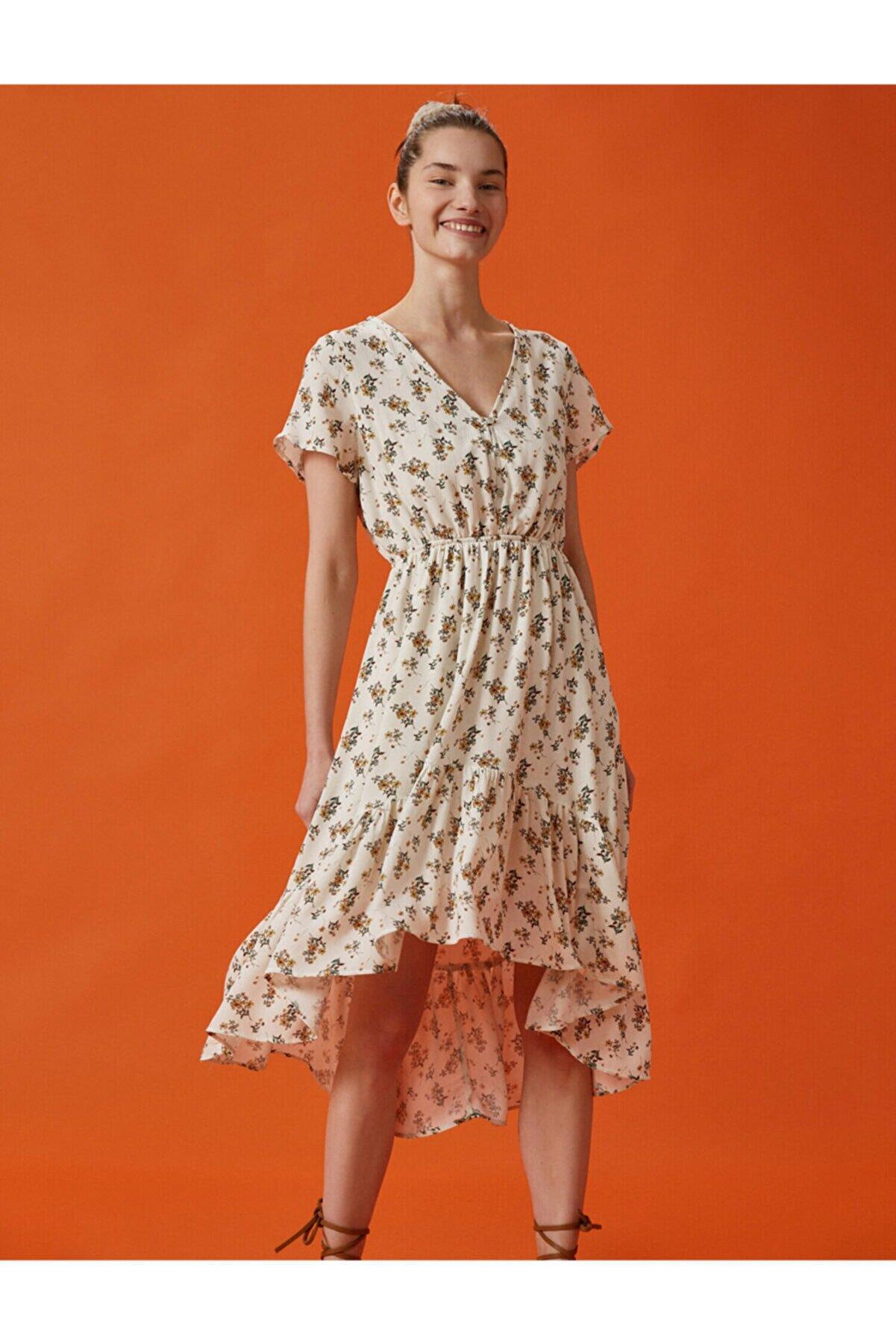 Koton Kadın Beyaz Kısa Kollu V Yaka Asimetrik Çiçekli Elbise