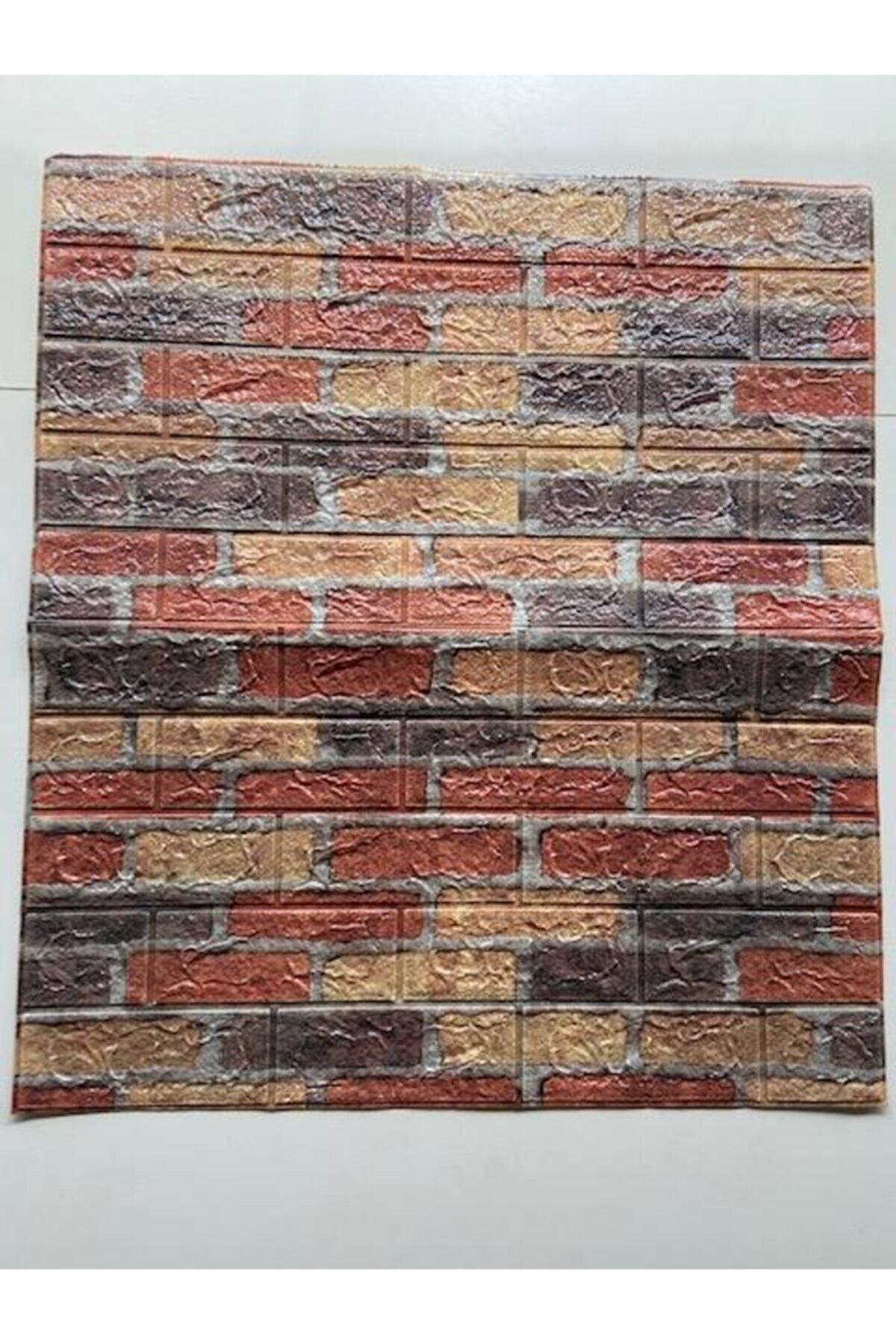 Renkli Duvarlar Kendinden Yapışkanlı 70x77cm 10 Adet Taş Duvar Kağıdı Paneli
