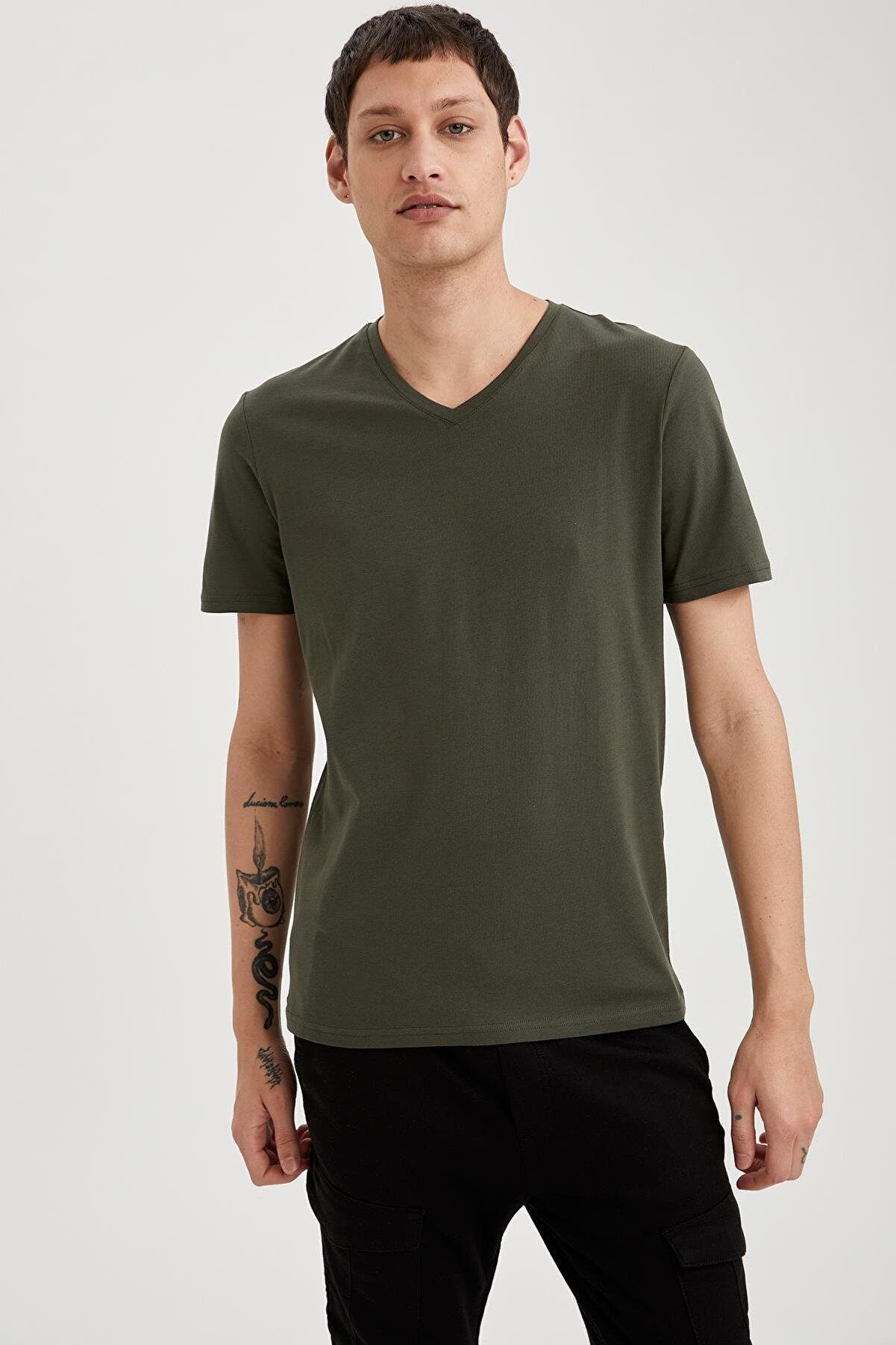 Defacto Slim Fit V Yaka Basic Haki Tişört