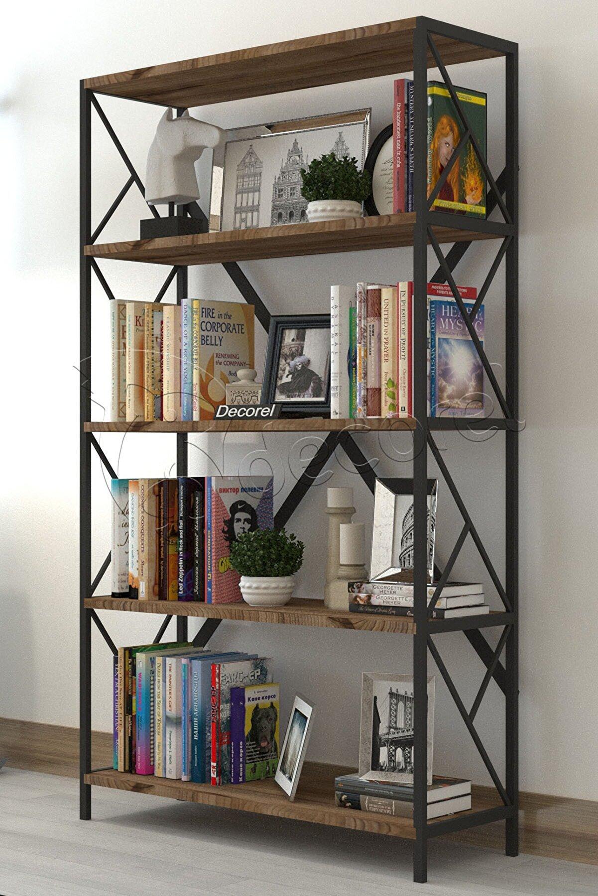 Morpanya Dekoratif 5 Raflı Kitaplık Geniş Metal Kitaplık Dosya Kitap Rafı Ofis Salon Raf 90x180cm Siyah Ceviz