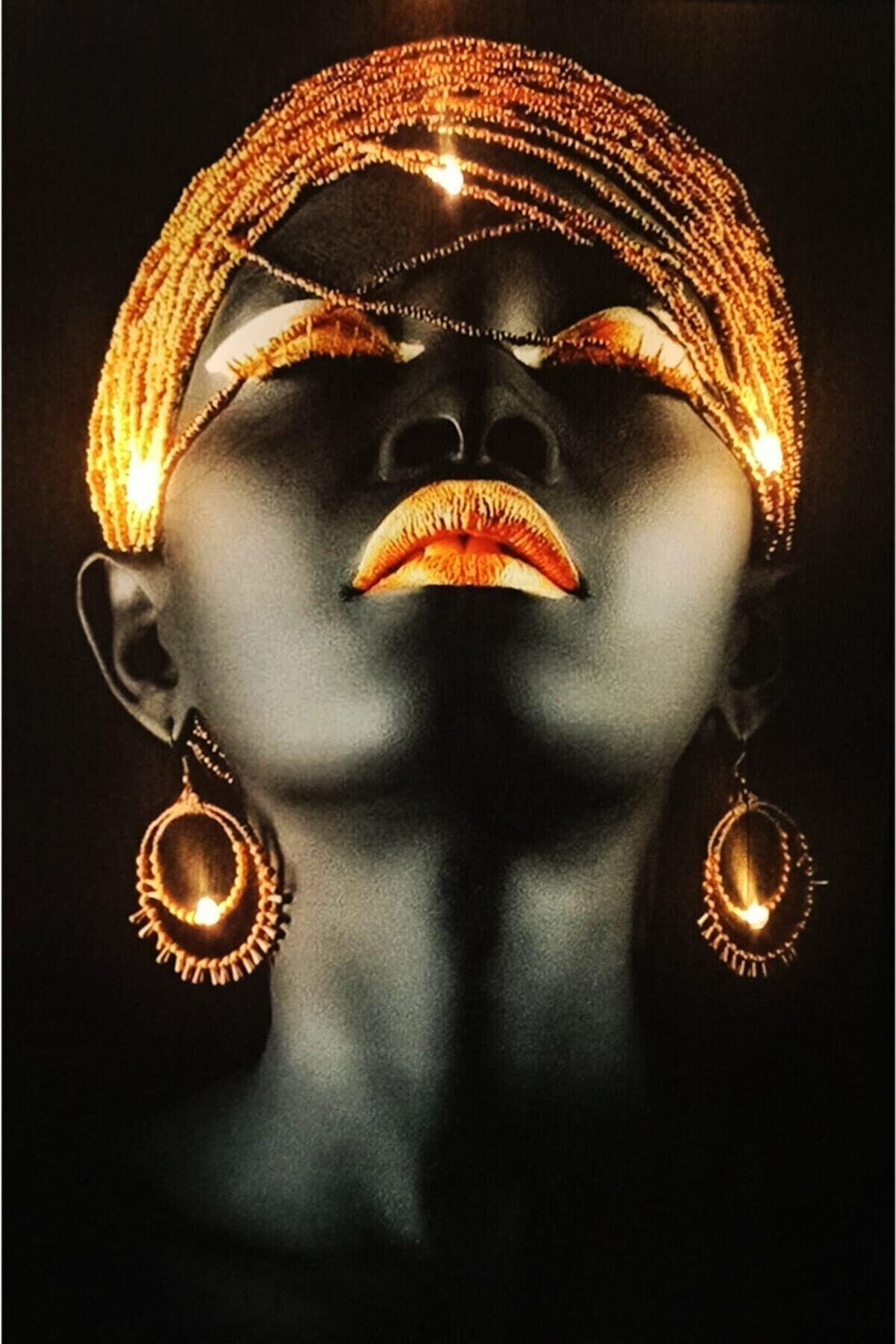 Haki Alışveriş Dünyası Kanvas Tablo Afrikalı Kadın 45x65 Cm Led'li Işıklı Ledli Asma Aparatı Hediyeli