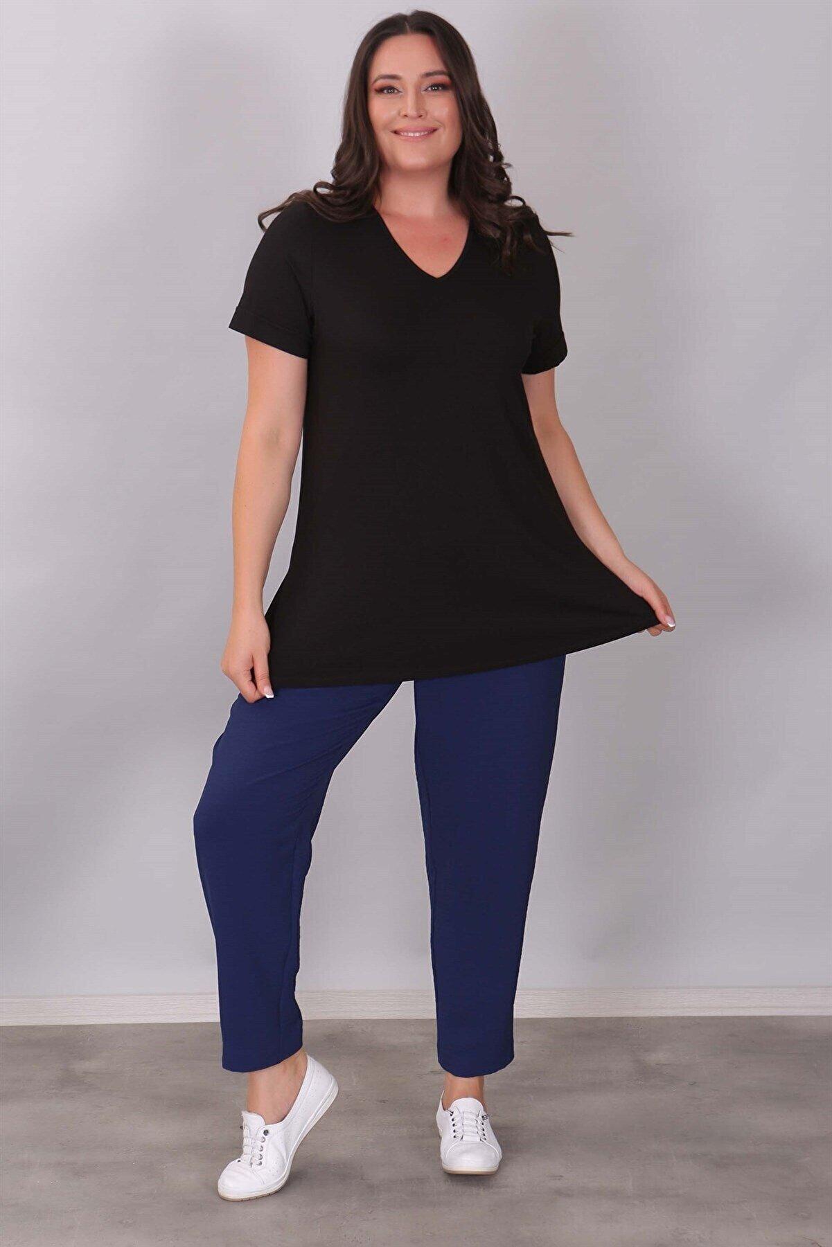 SERTUĞ V Yakalı Basıc Siyah Bluz