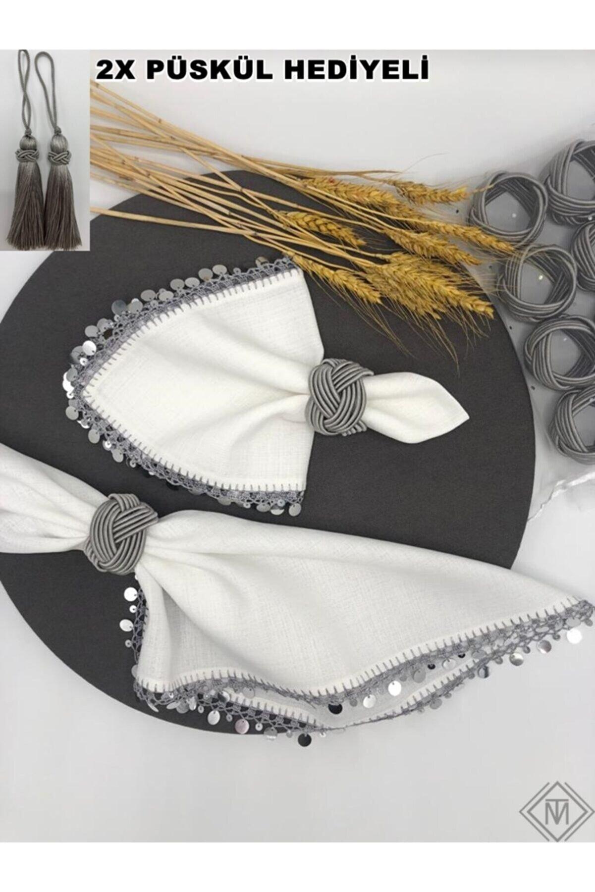 miraç tekstil Peçete Yüzük Halkası Burgulu 8'li Set Füme