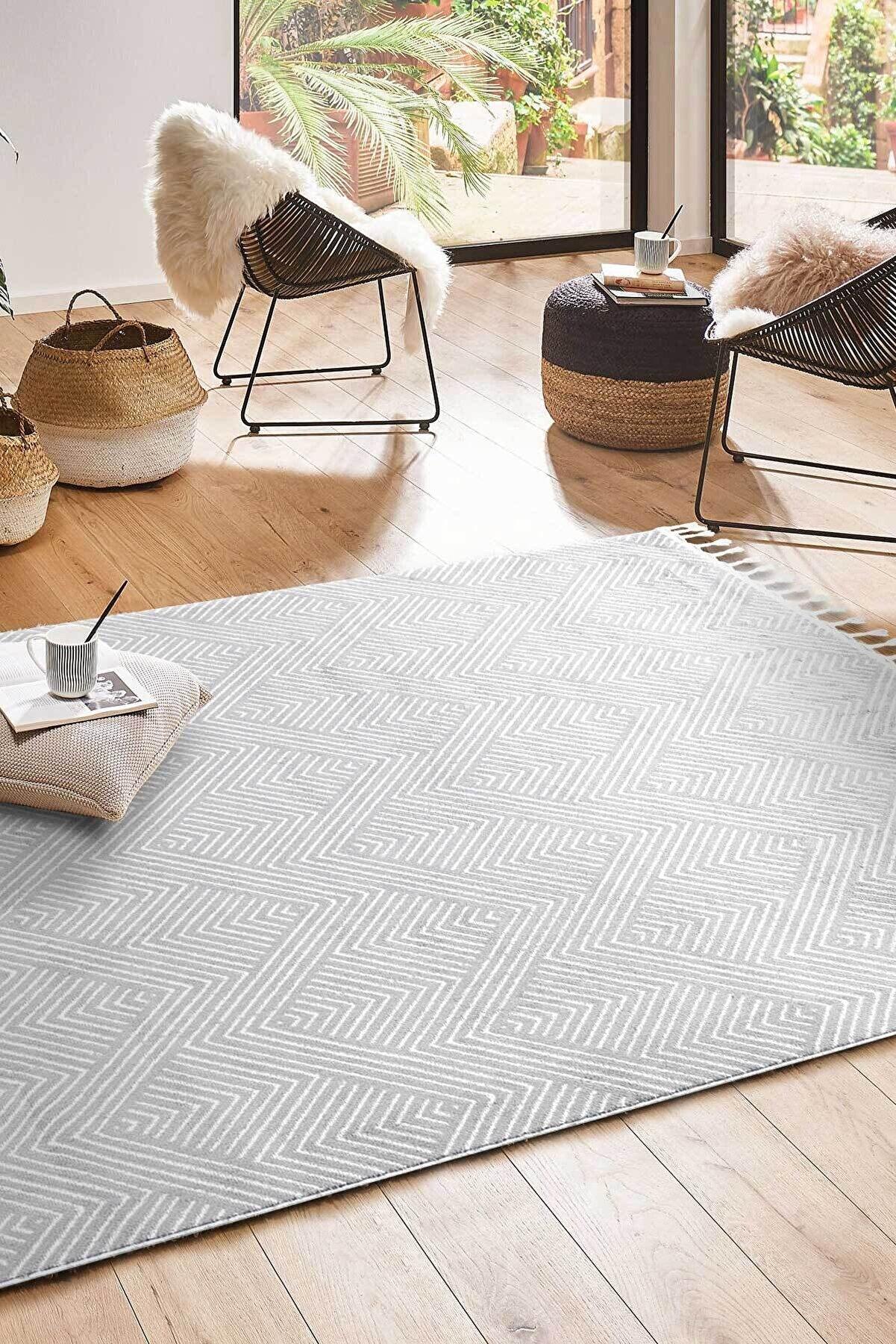 Cool Halı Eko Halı Urban 01 Gri Beyaz Etnik Desenlere Sahip Hav Toz Vermez Yumuşak Dokulu Modern Halı