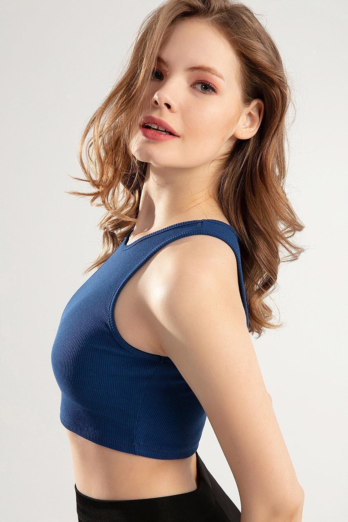 Pattaya Kadın Kaşkorse Kolsuz Halter Yaka Bluz Ptty20s-5011