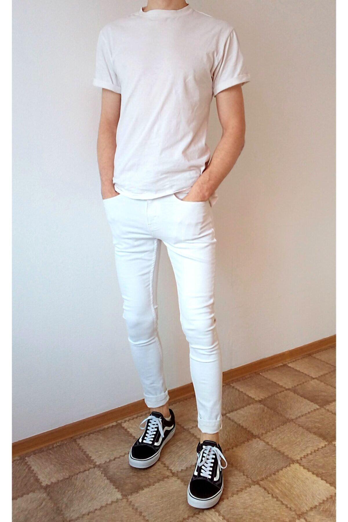 Tarz Cool Erkek Beyaz Denim Slim Fit Pantolon