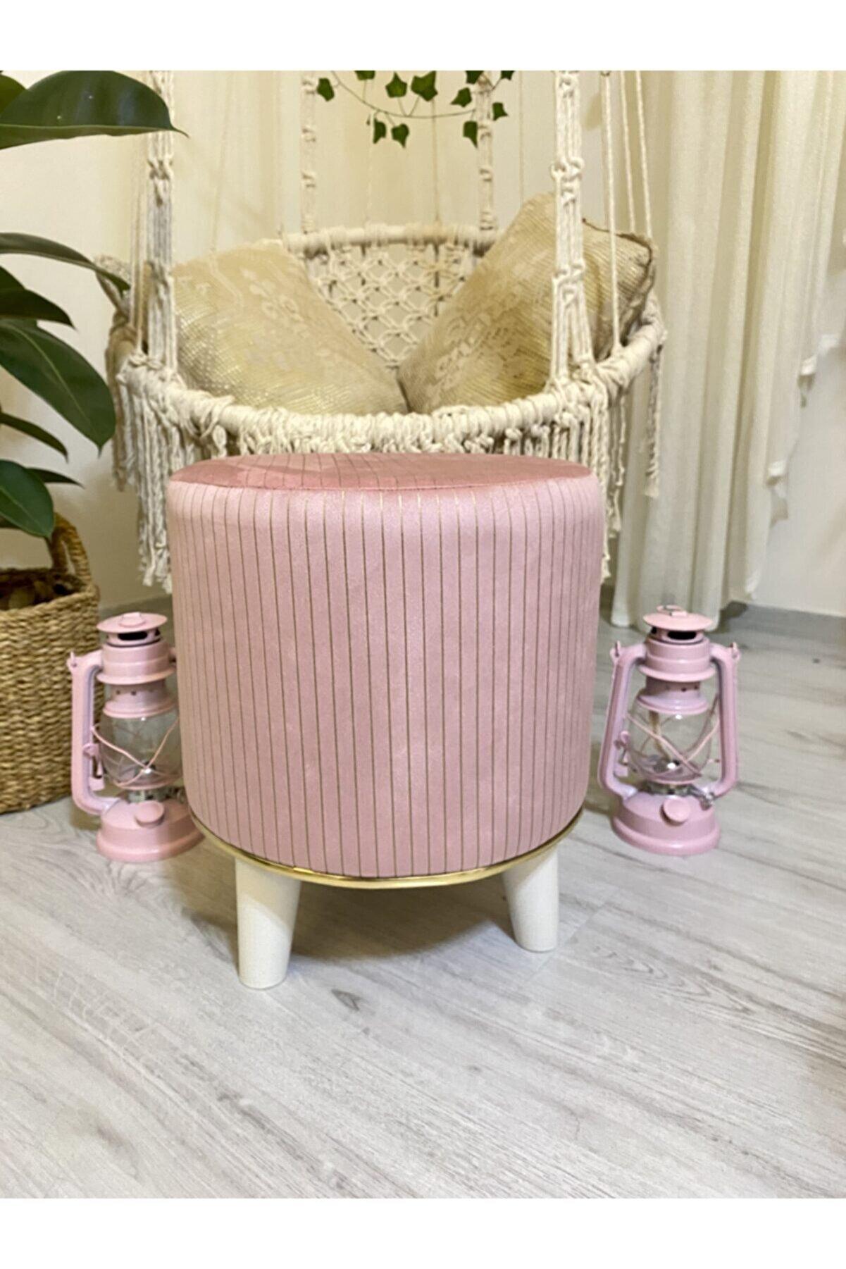 Müber Tasarım Müber Golden Rope Pink Desen Puf
