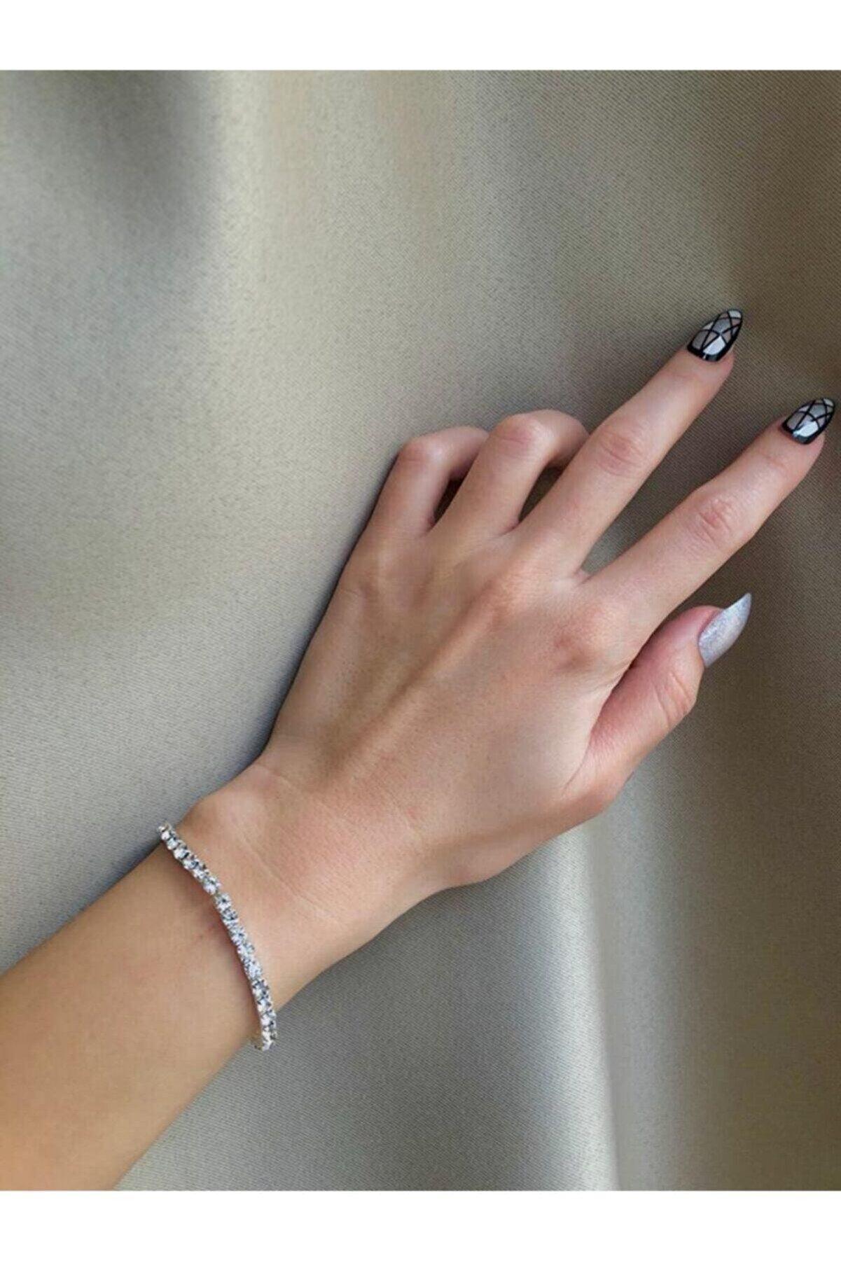 NÖRS DESİGN The Y Jewelry Silver Su Yolu Taşlı Bileklik