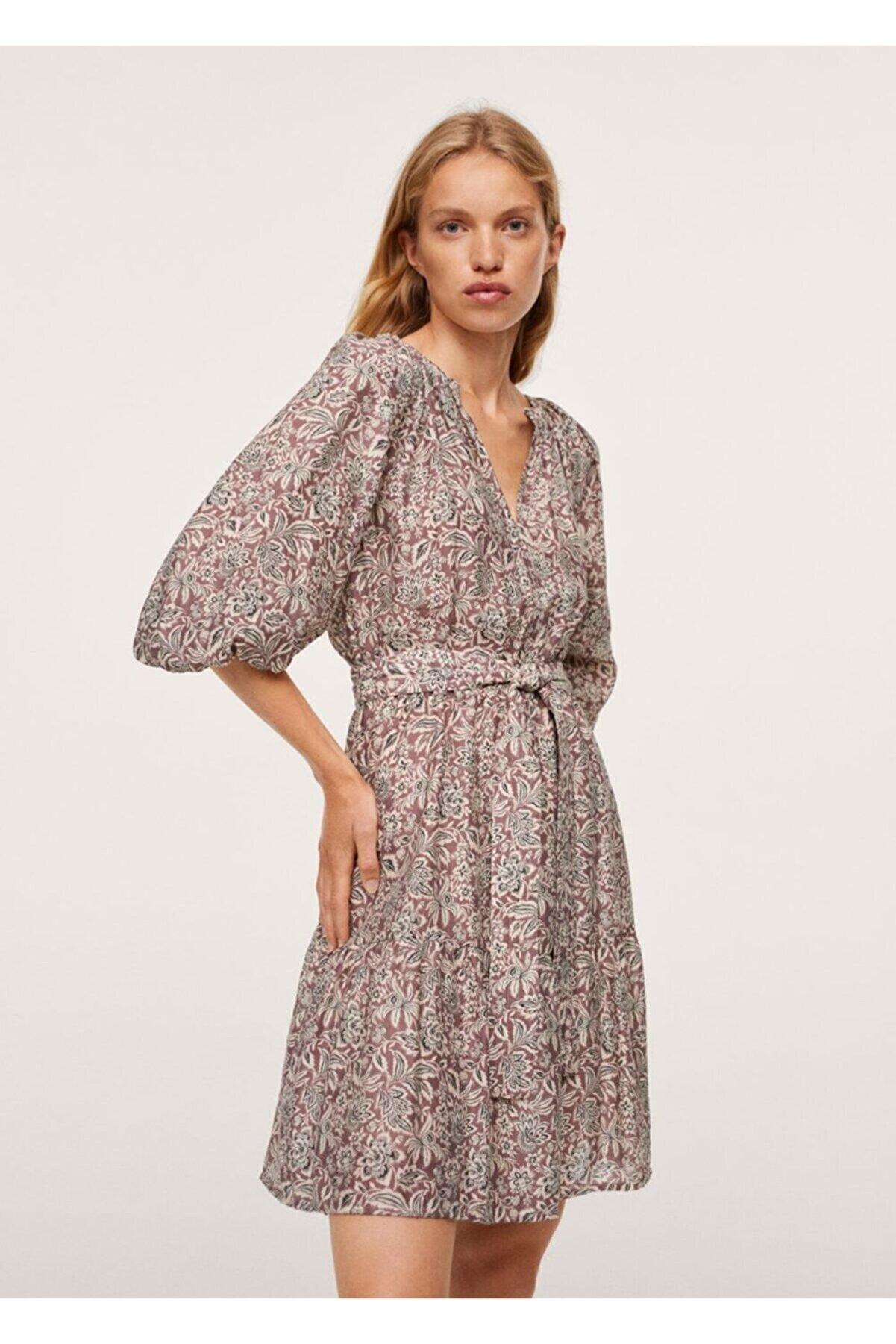 Mango Kadın Bordo Kabarık Kollu Elbise