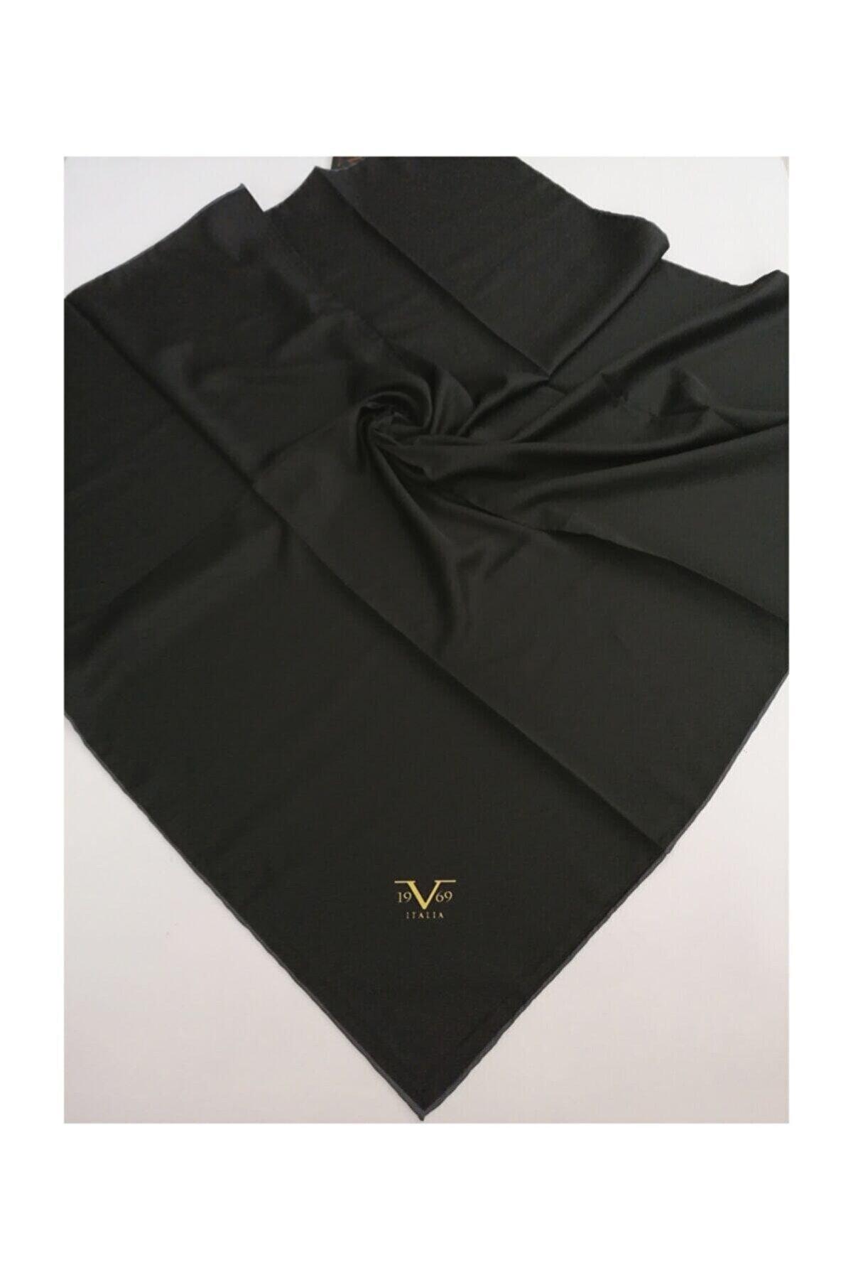 19V69 ITALIA Kadın Siyah Twill Eşarp Black Seri 90x90 cm Eşarp Askısı İle Birlikte 10347-v43
