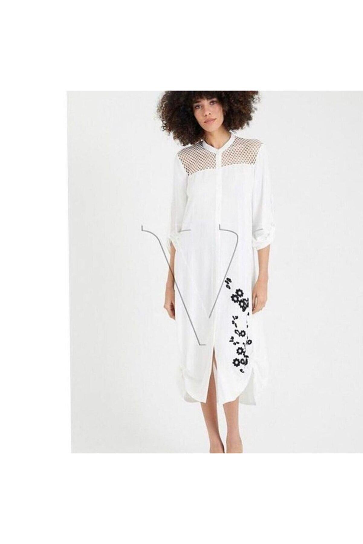 VALE WOMAN Beyaz Önden Dügmeli Nakislı Elbise