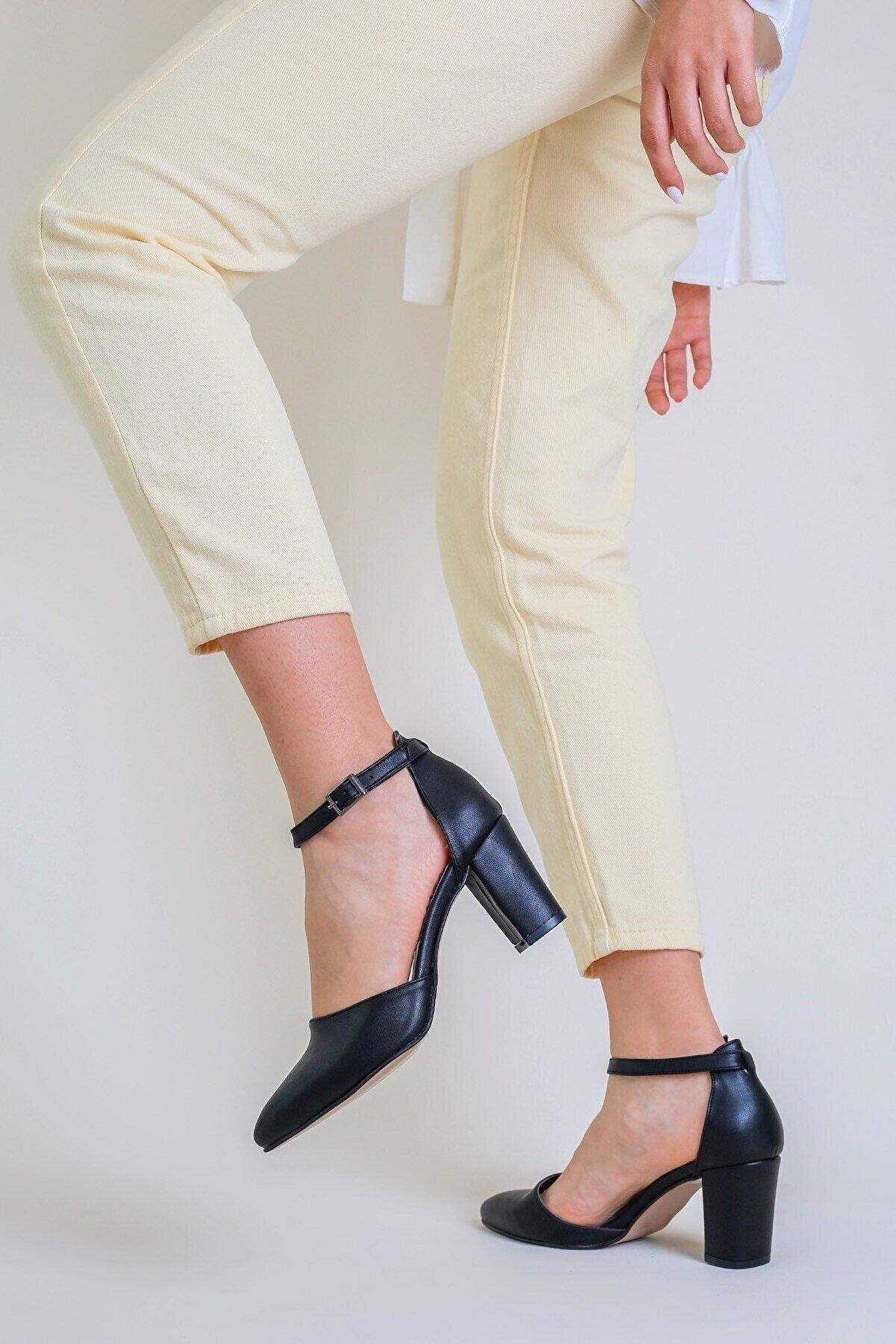 rpt ayakkabı Jamı Kadın Topuklu Açık Ayakkabı Cilt Siyah