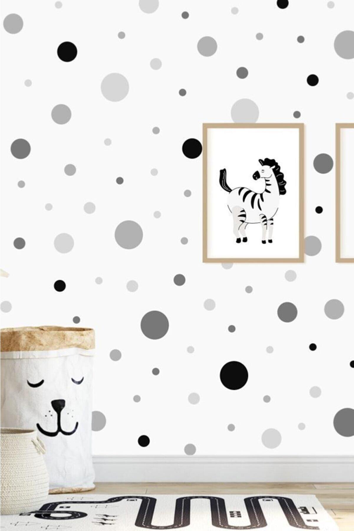 hediyepostası Gri Irili Ufaklı Yuvarlak Şekil Duvar Stickerı 96 Adet
