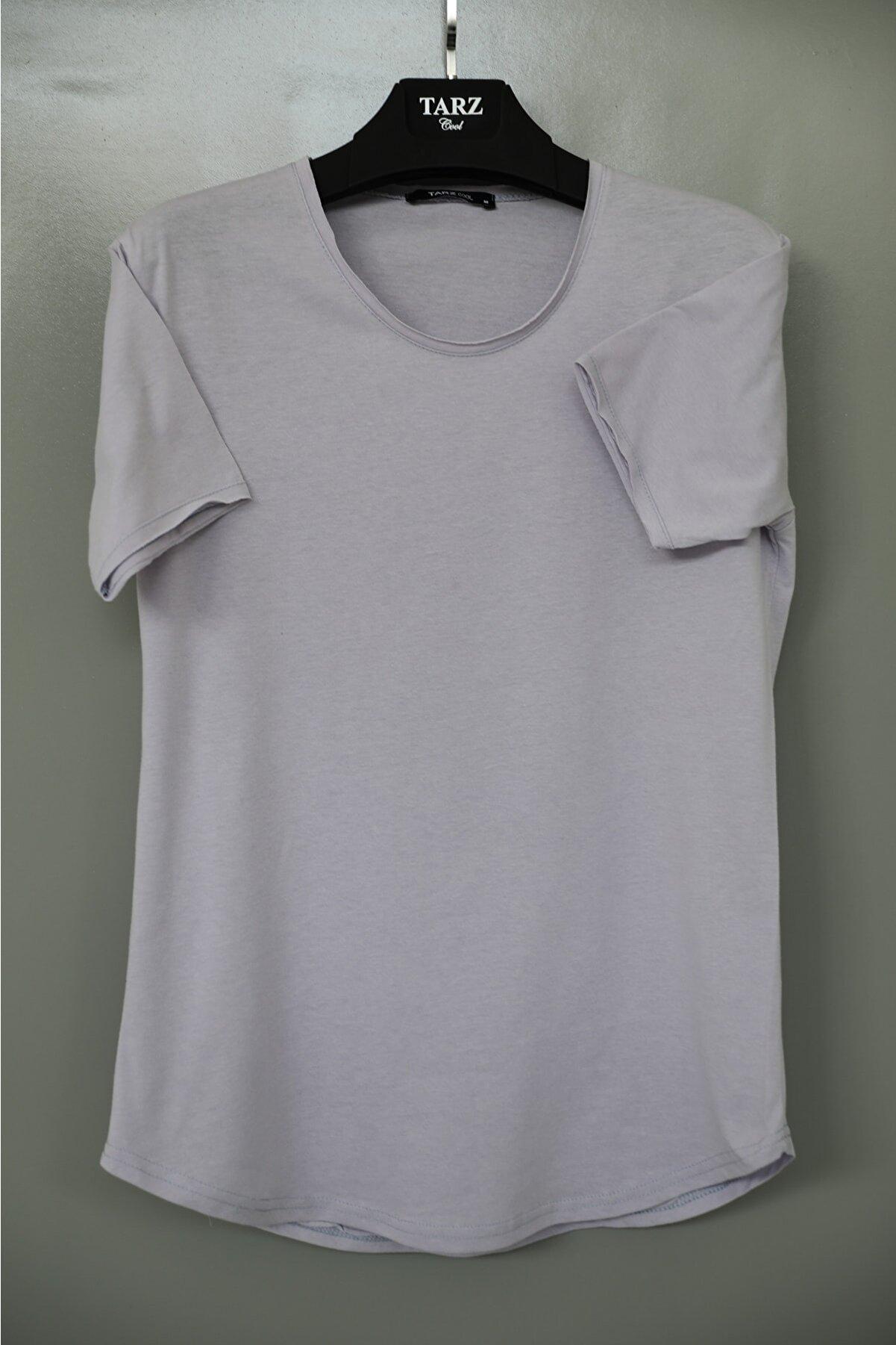 Tarz Cool Erkek Açık Lila Pis Yaka Salaş T-shirt