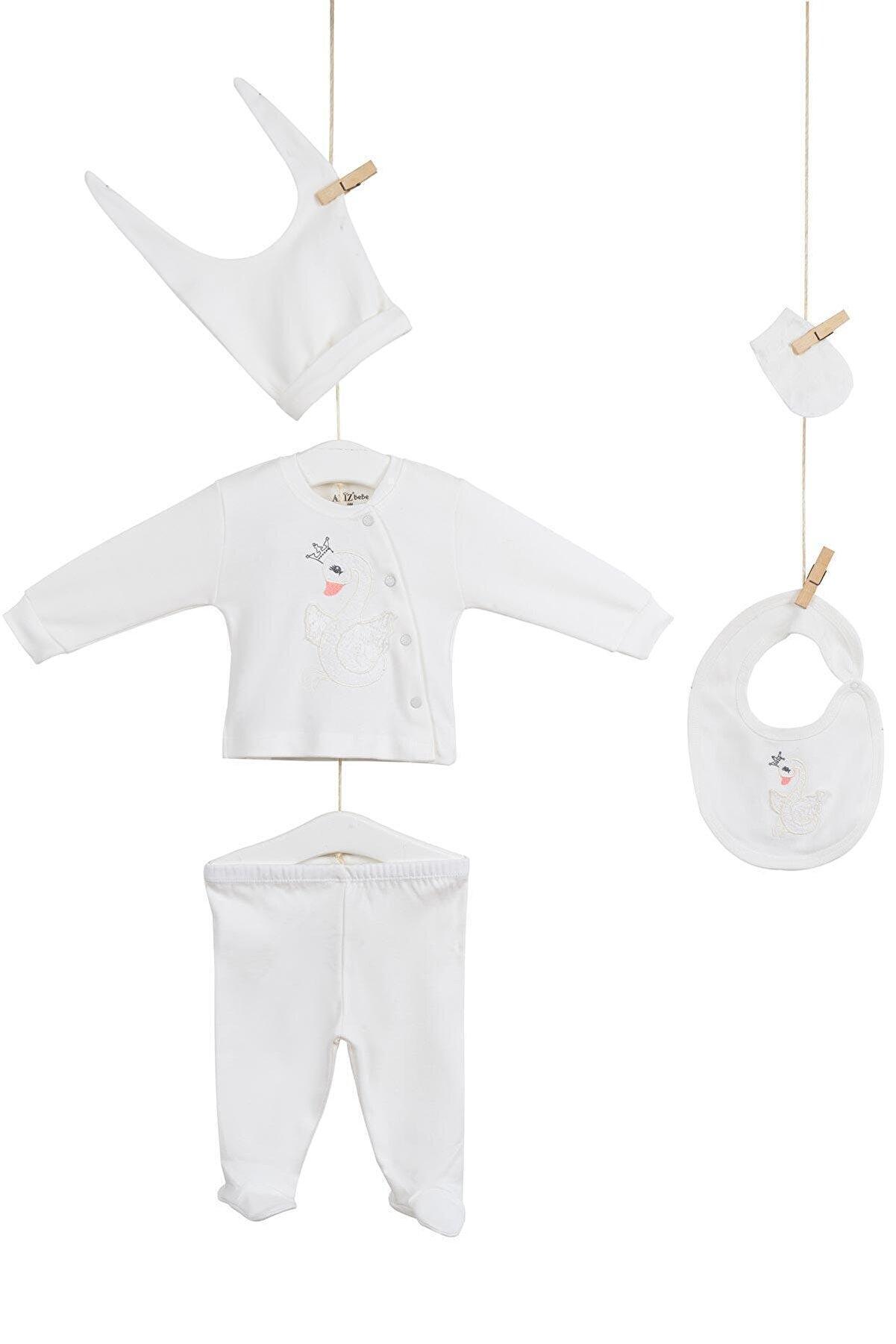 """Aziz Bebe 5250 Kız Bebek """"kuğu"""" Nakışlı 5'li Hastane Çıkışı"""