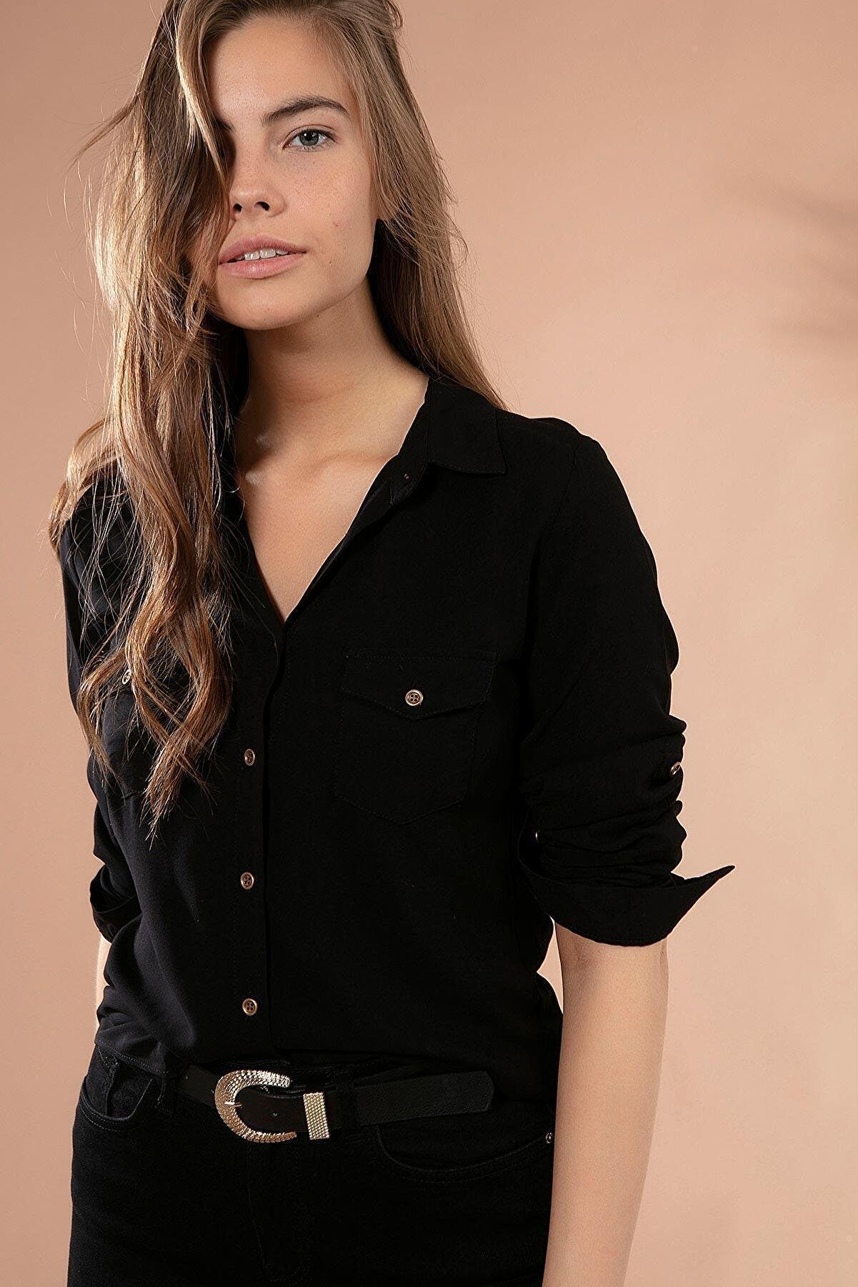 Pattaya Kadın Cep Detaylı Basic Uzun Kollu Gömlek Y19w110-3428