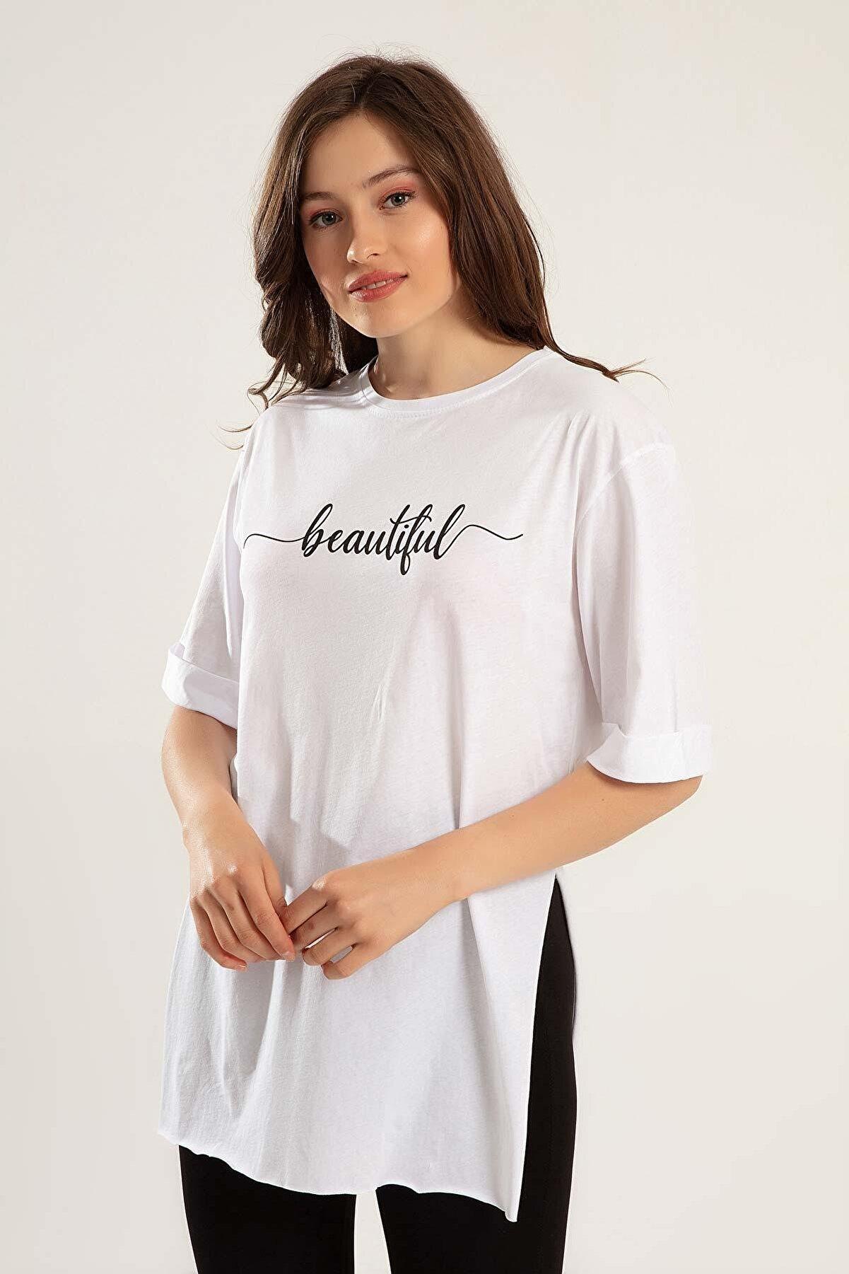 Pattaya Kadın Baskılı Yırtmaçlı Tişört Y20s110-0361