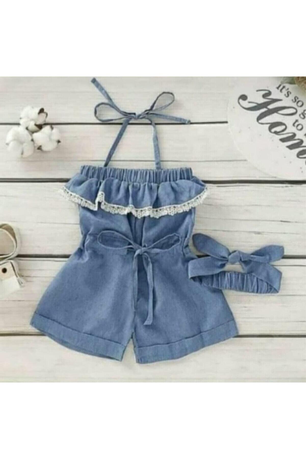 Lolababy Kız Çocuk Mavi Kot Tulum