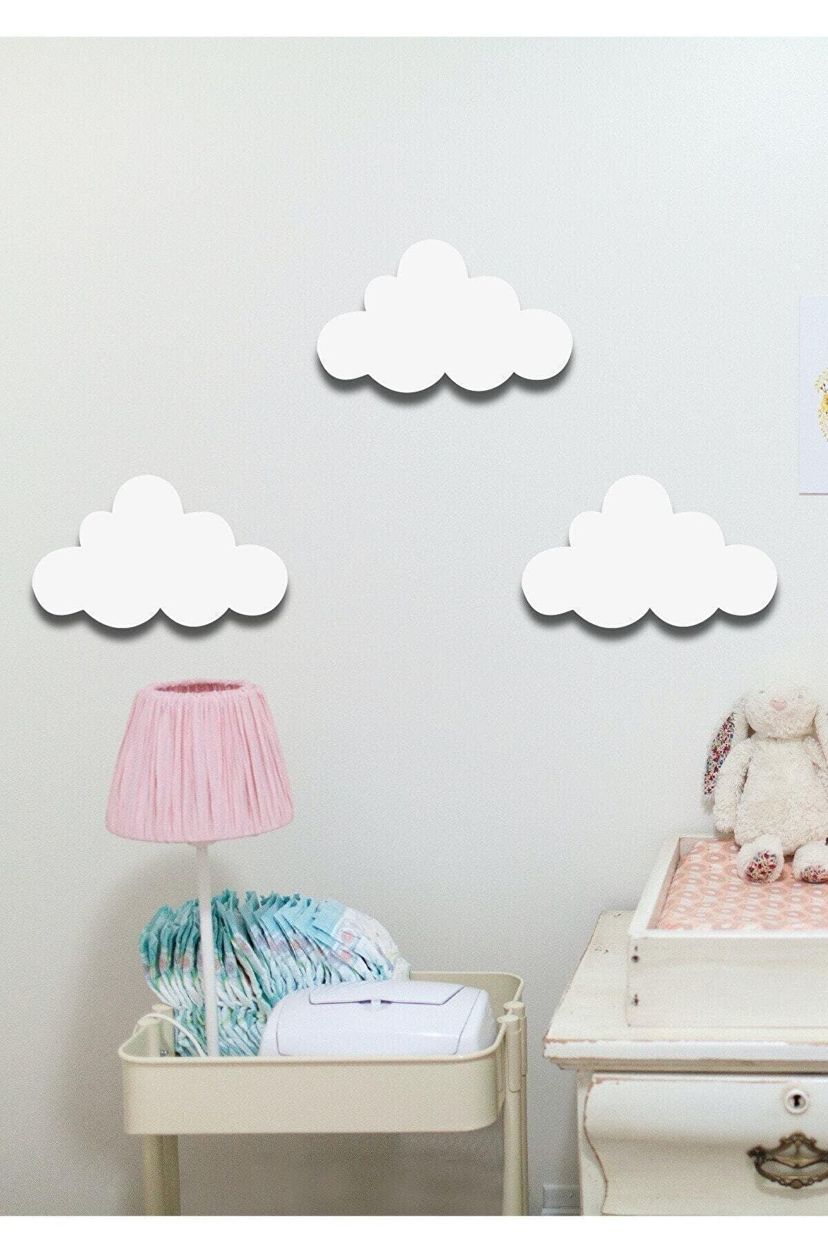 Hellove Beyaz Bulut 3 Lü Set Bulut Ahşap Duvar Dekoru Çocuk Odası Süsü