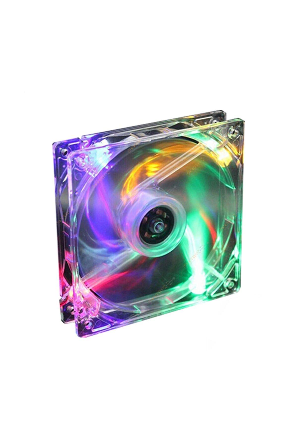WOZLO 8 Cm Kasa Fanı 4 Renk Sıfır Sessiz Işıklı Vidalı