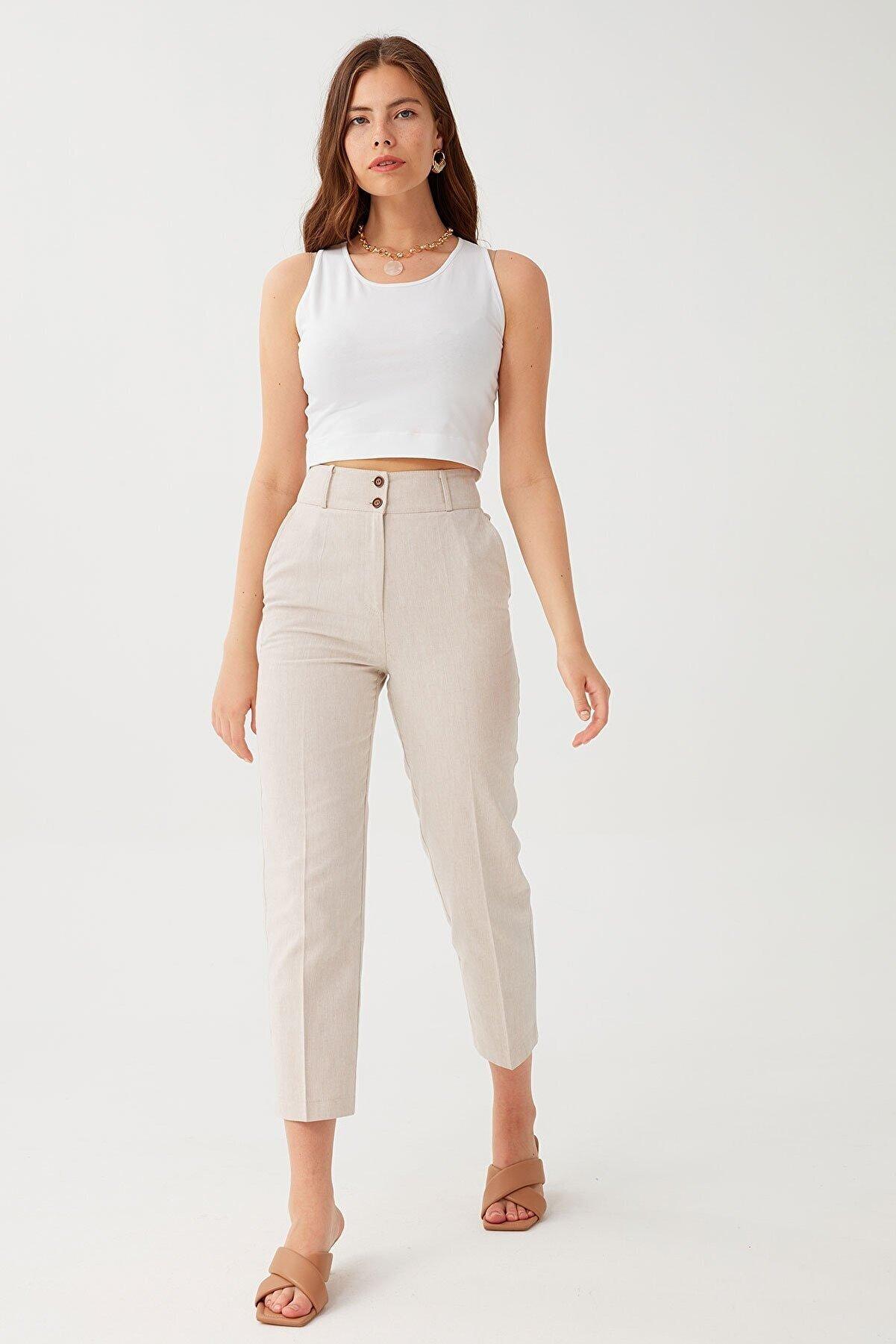 Chima İki Düğmeli Yüksek Bel Pantolon