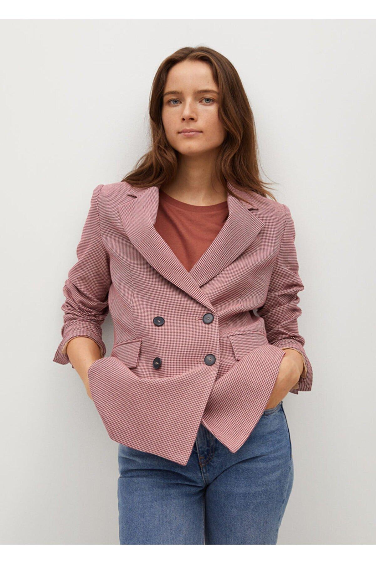 Mango Kazayağı Desenli Yün Blazer Ceket