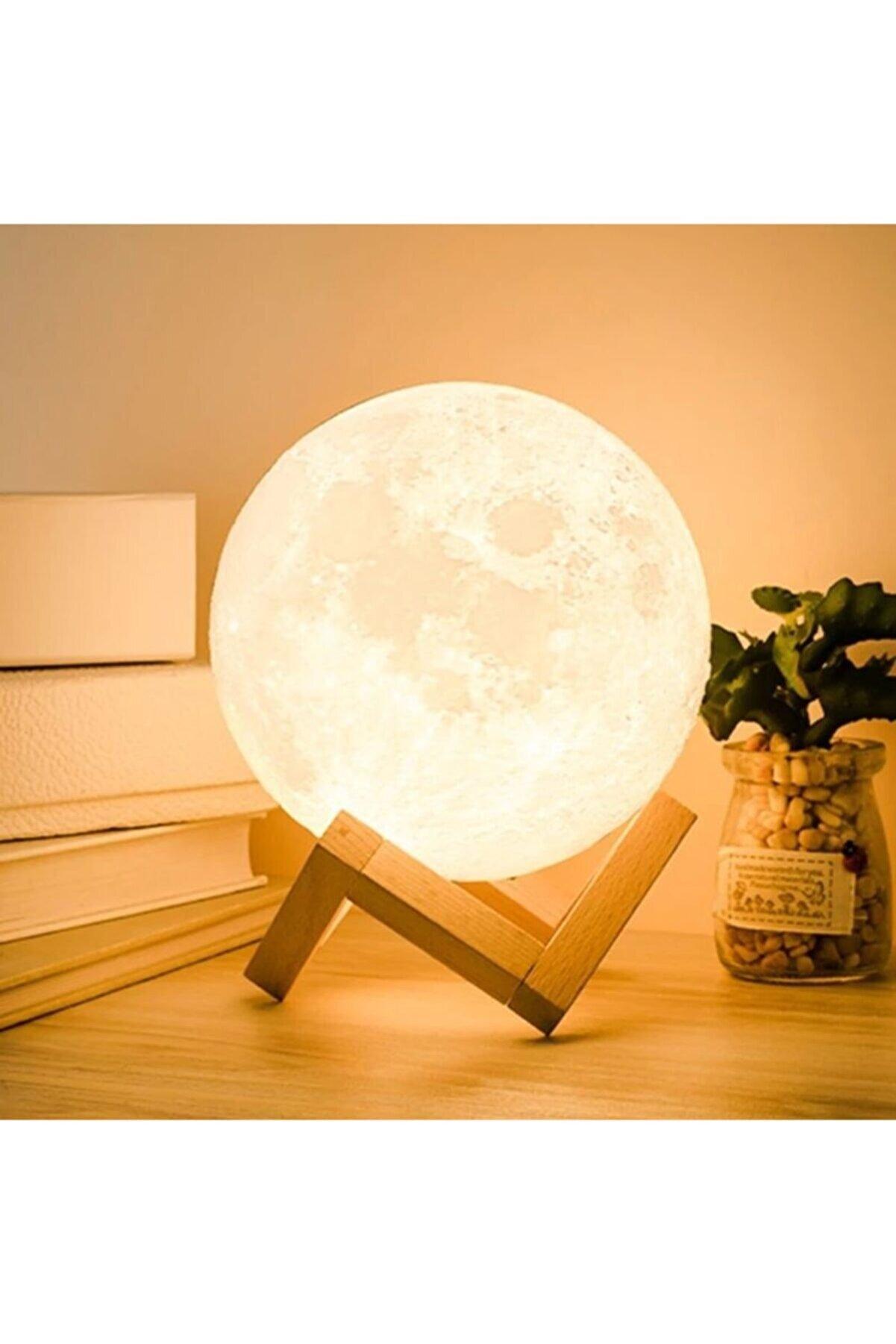 Vk&Vk 3d Standlı Ay Gece Lambası Dekoratif Küre Led