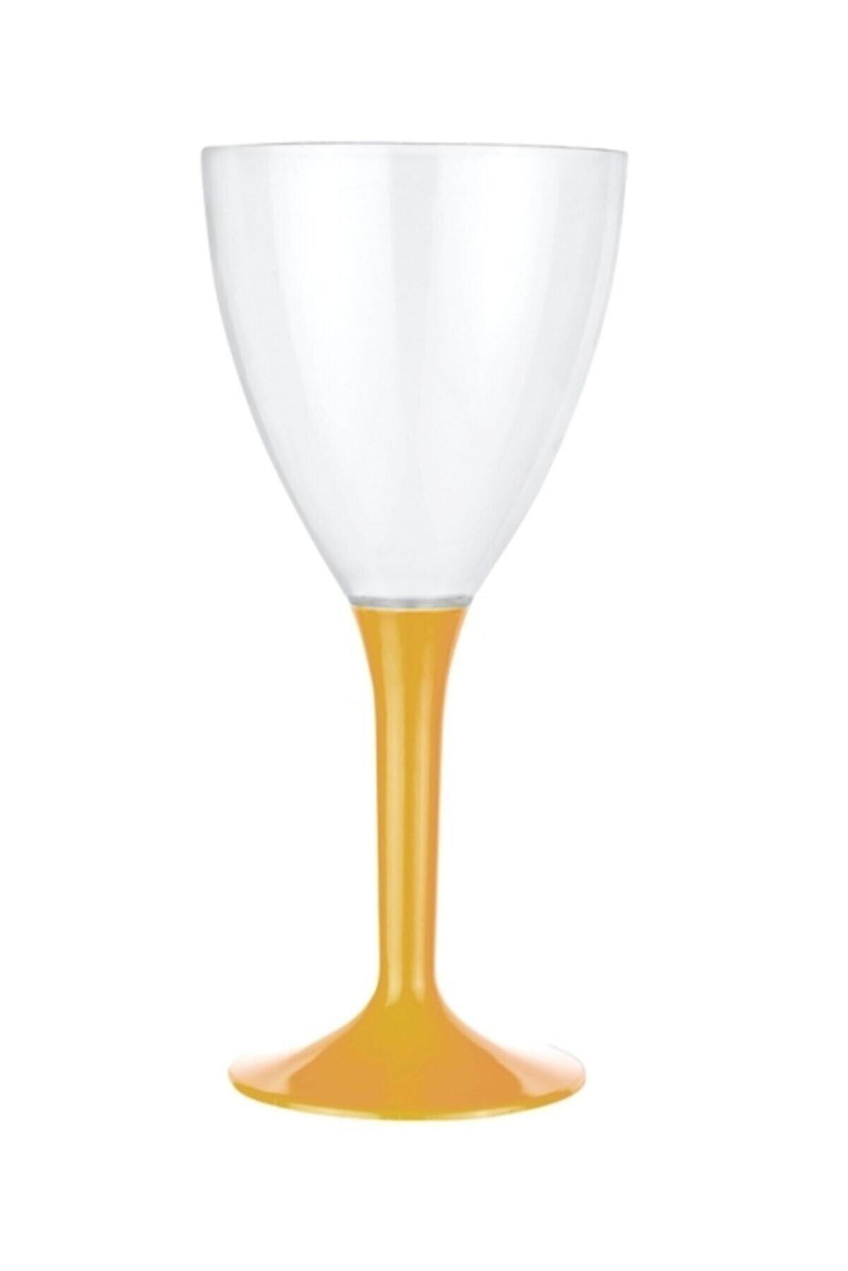 Kristal Gold Renk Plastik Şarap Kadehi 10 Adet