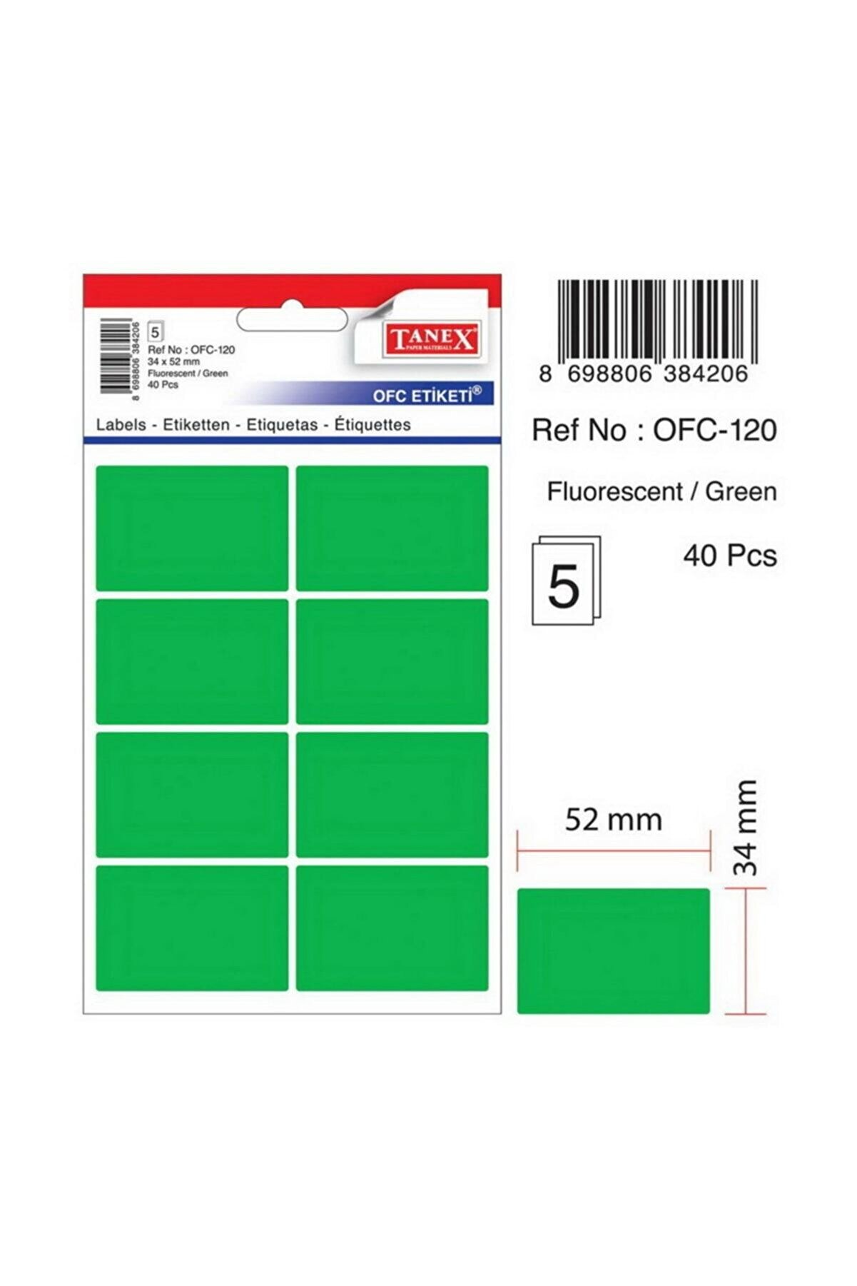Tanex Ofc-120 Çıkartma Etiket 52x34 Mm (yeşil 80 Li - Renkliler 40 Lı Paket)