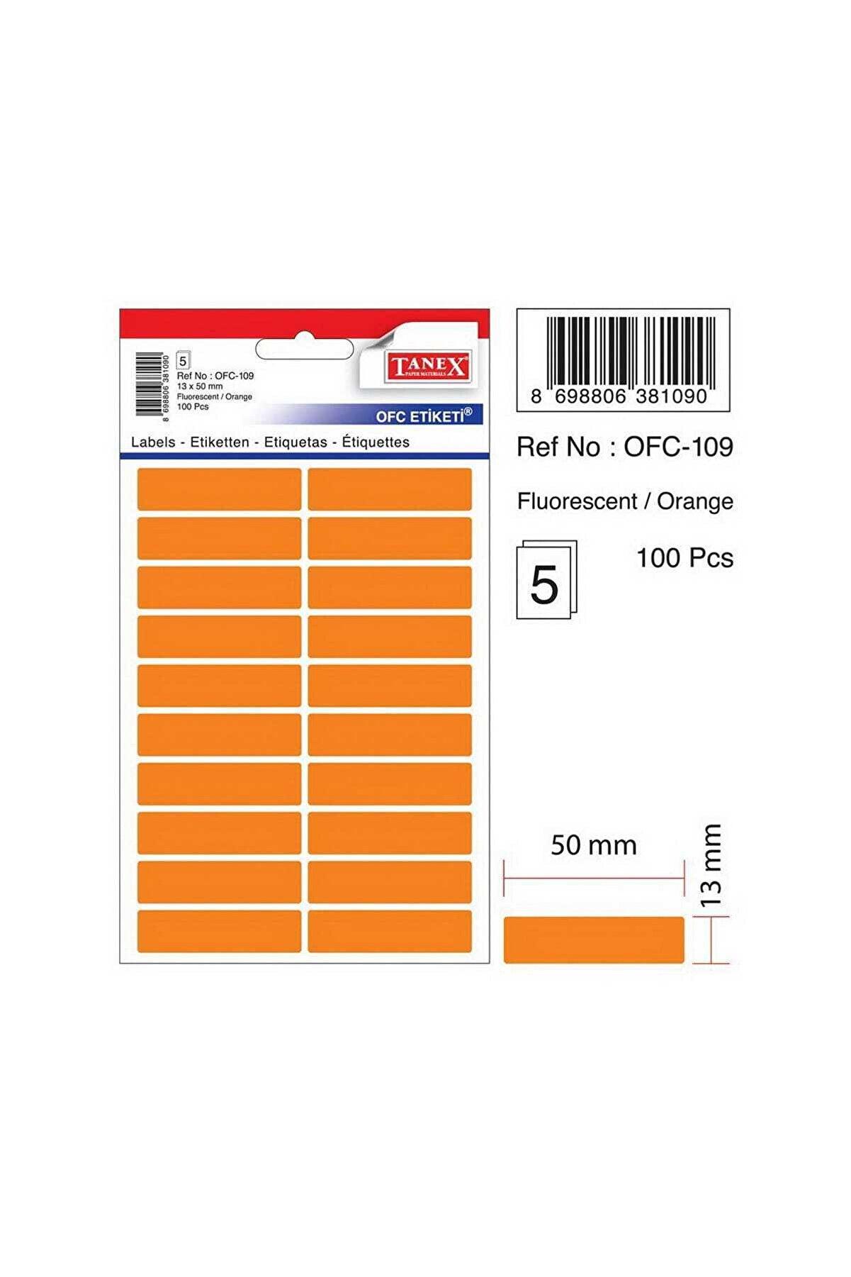 Tanex Ofc-109 Çıkartma Etiket 50x13 Mm (beyaz 200 Lü - Renkliler 100 Lü Paket)