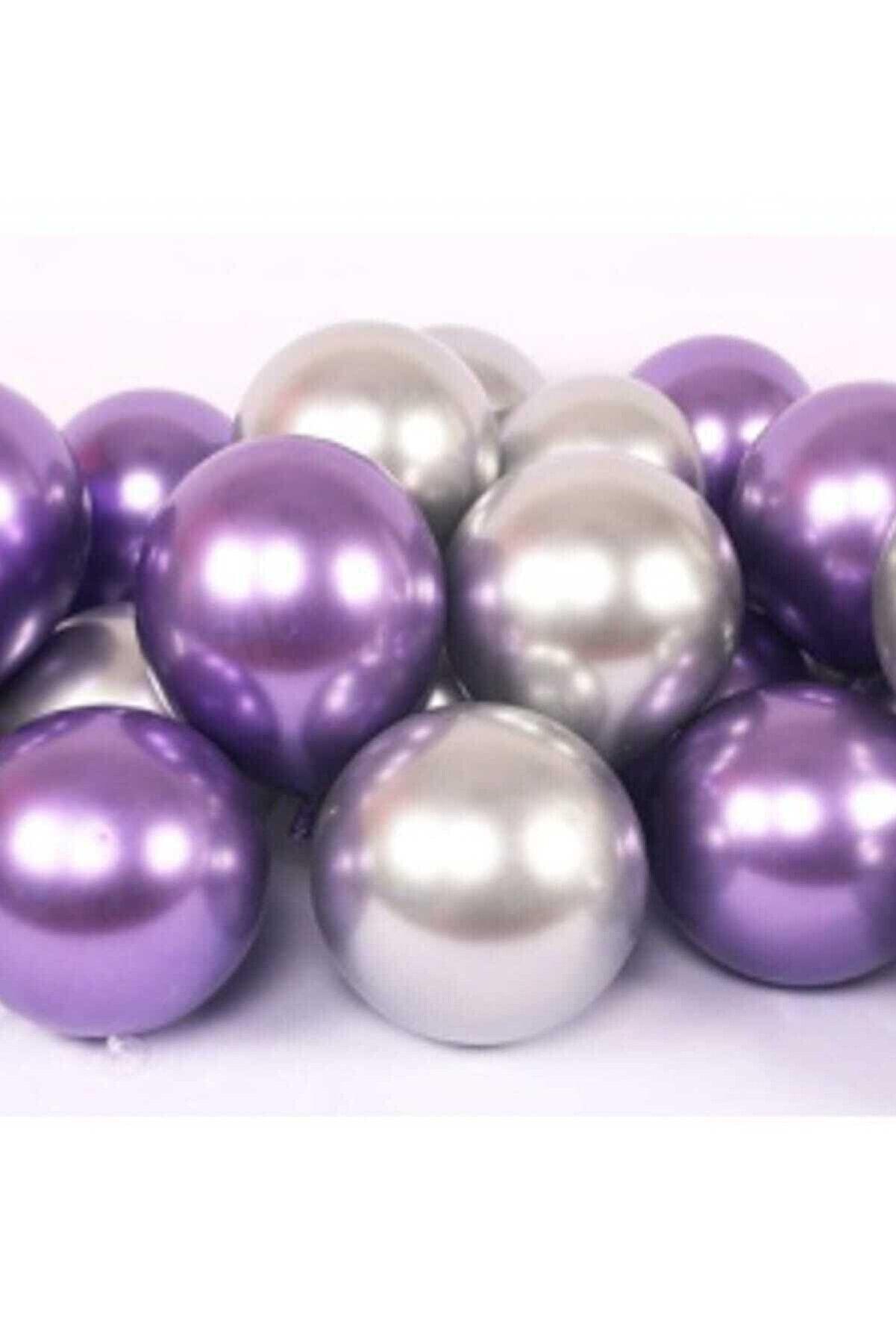 Magic Hobby Krom Parlak Metalik Mor-gümüş Renk 15'li Balon