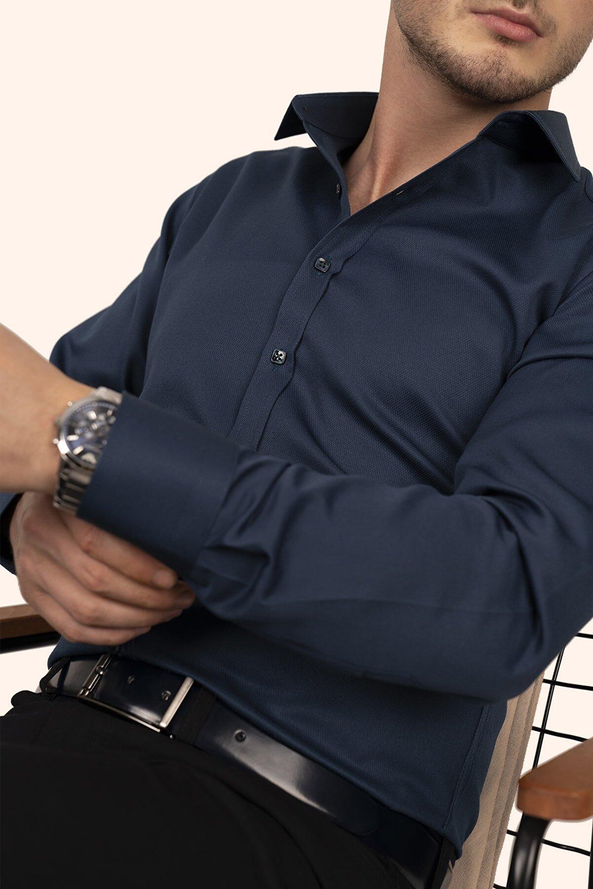 Etikmen Zümrüt Yeşili Kare Düğmeli Erkek Gömlek