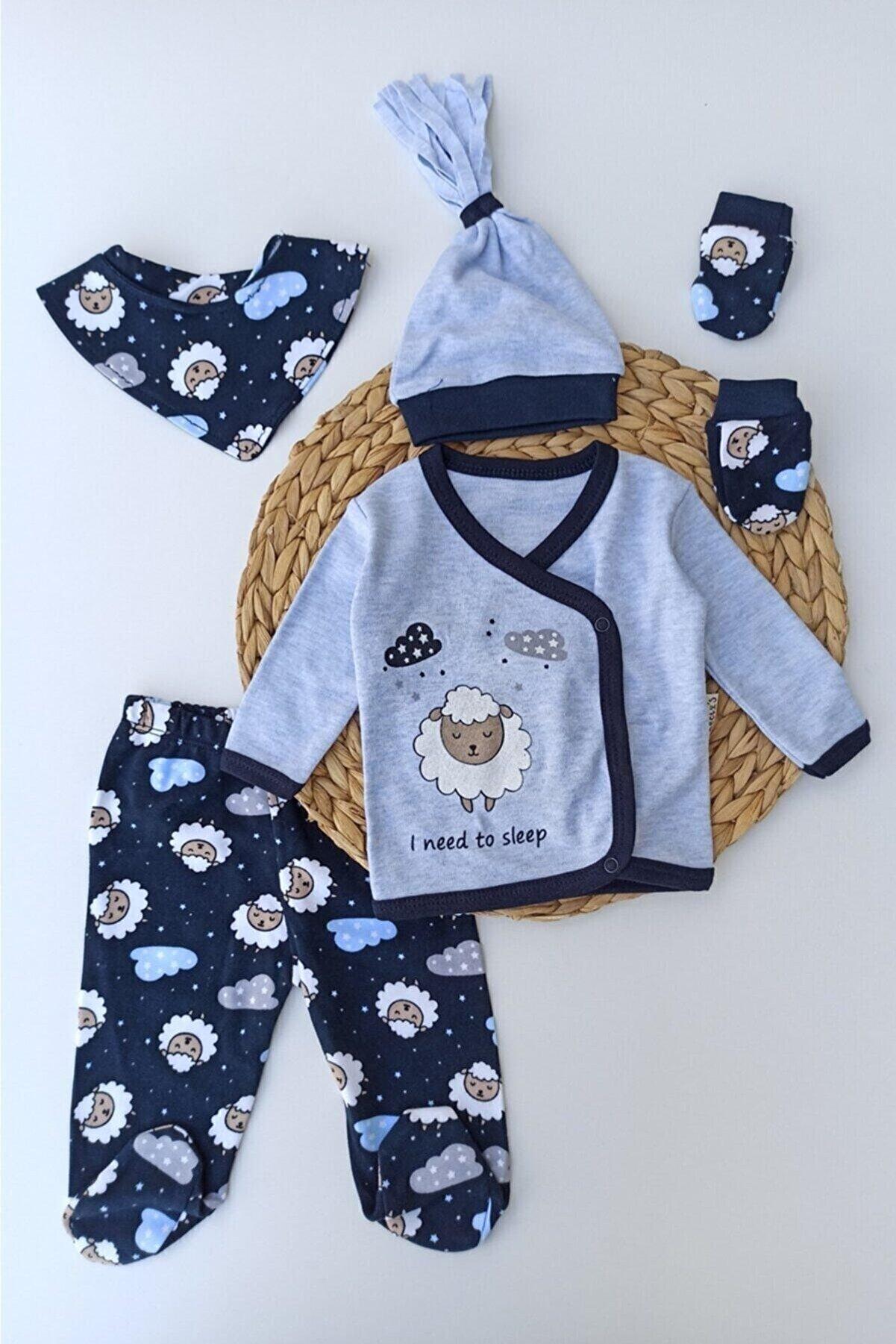 Necix Erkek Bebek Mavi Kuzu Baskılı Bebek 5li Hastana Çıkışı Zıbın Set
