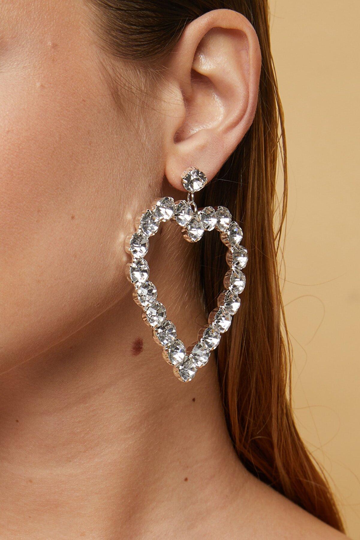 Gunbaz Kadın Kristal Taşlı Kalp Küpe Silver 003