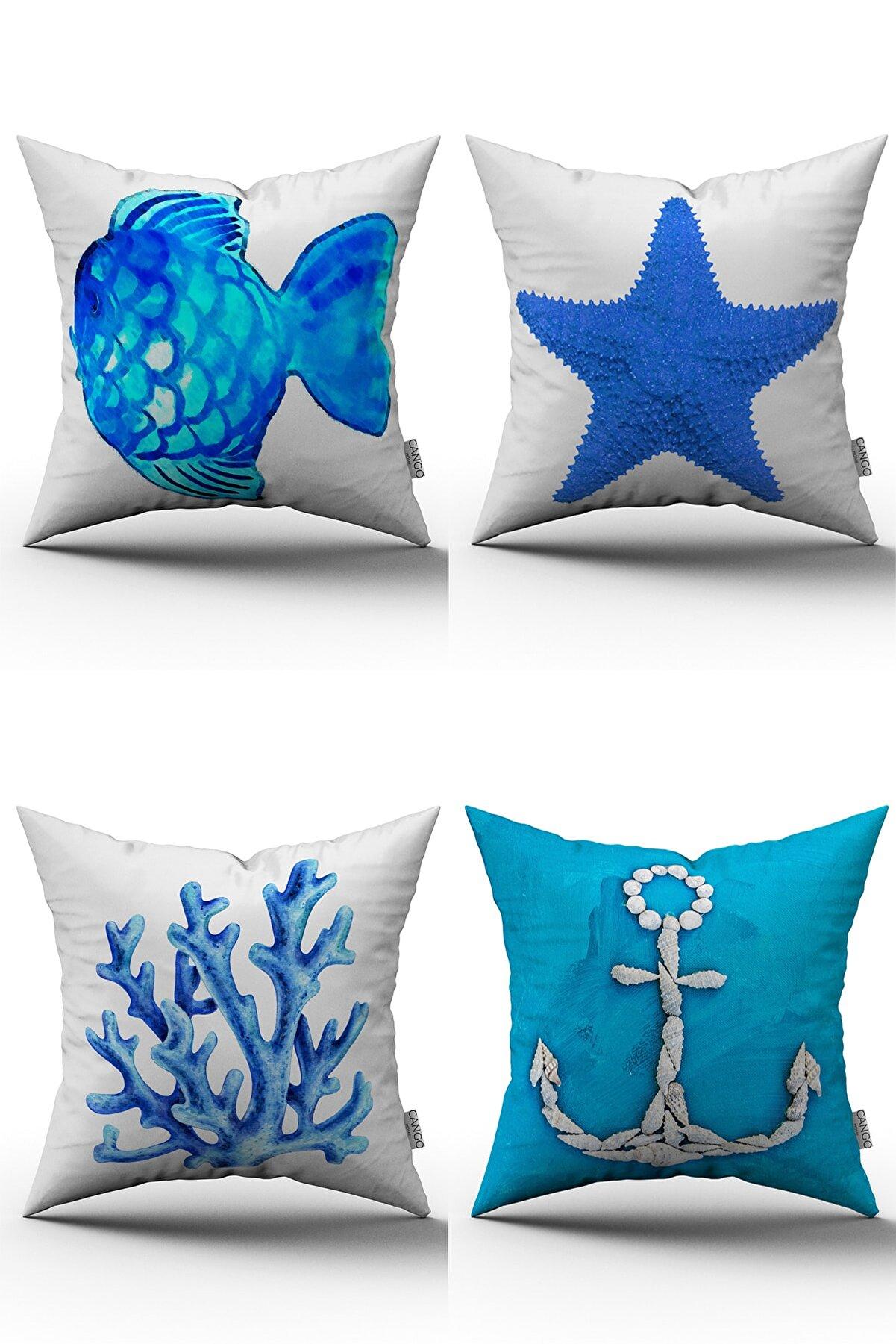 Cango Home Mavi Beyaz Marin Desenli 4'lü Dijital Baskılı Kırlent Kılıfı Seti - 4kmbs001