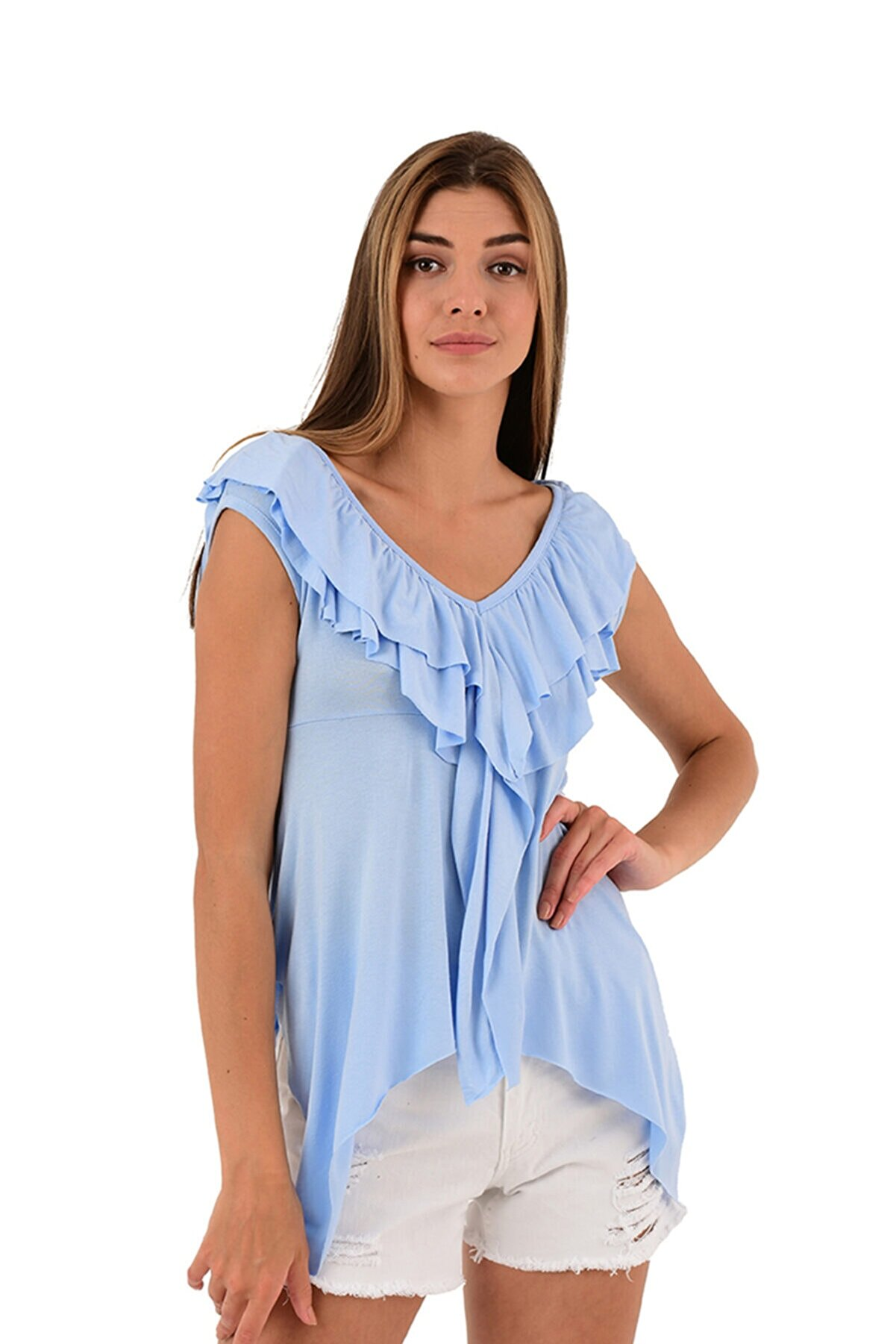 Modagusto V Yaka Fırfır Detaylı Mavi T-shirt