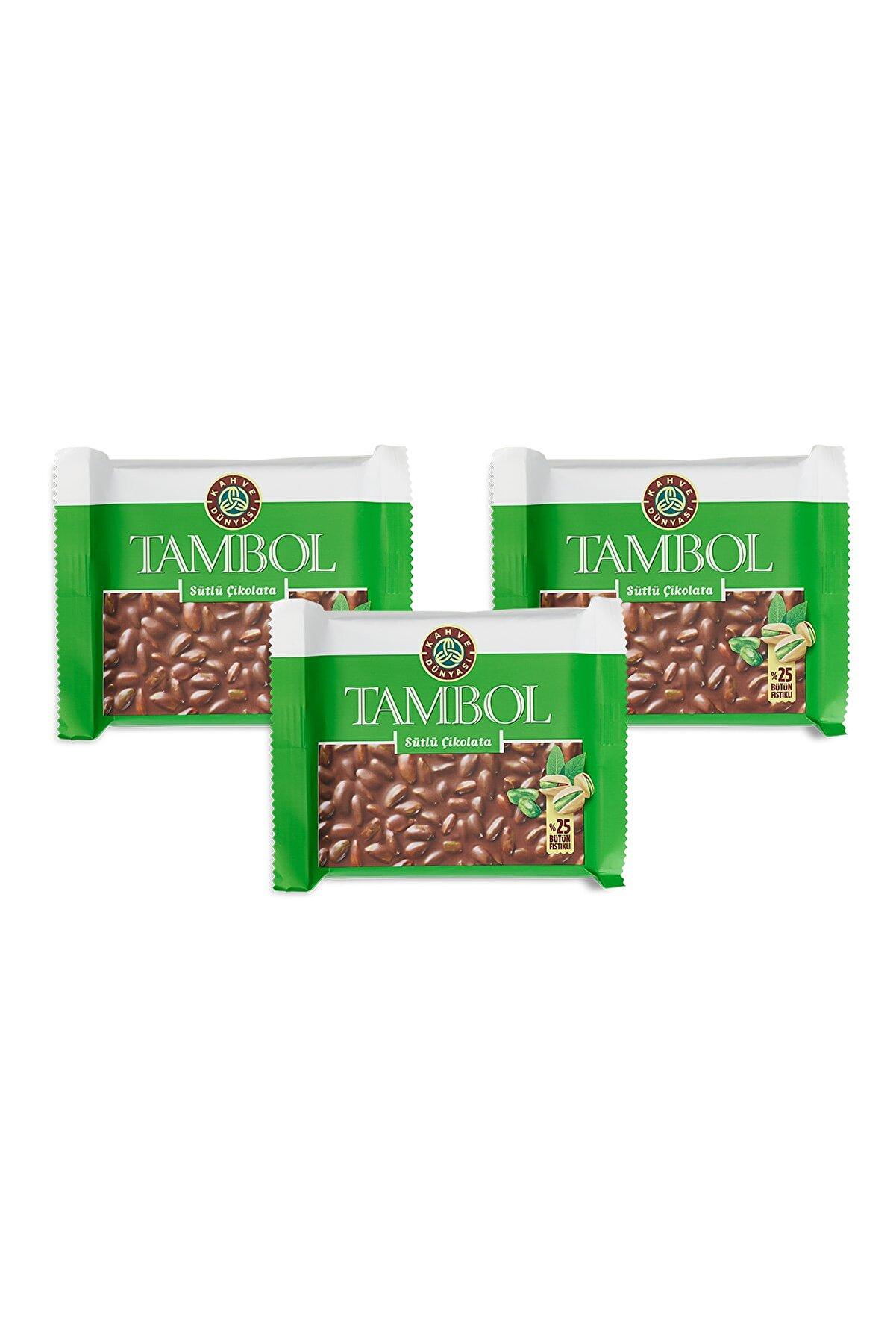Kahve Dünyası 3'lü Tambol Bütün Fıstıklı Sütlü Çikolata 100g