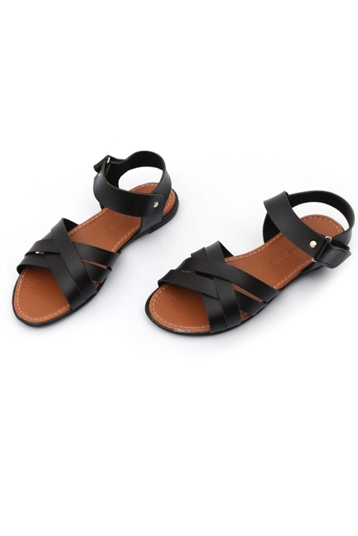 GÜNBEY AYAKKABI Gladyatör Kadın Sandalet Siyah