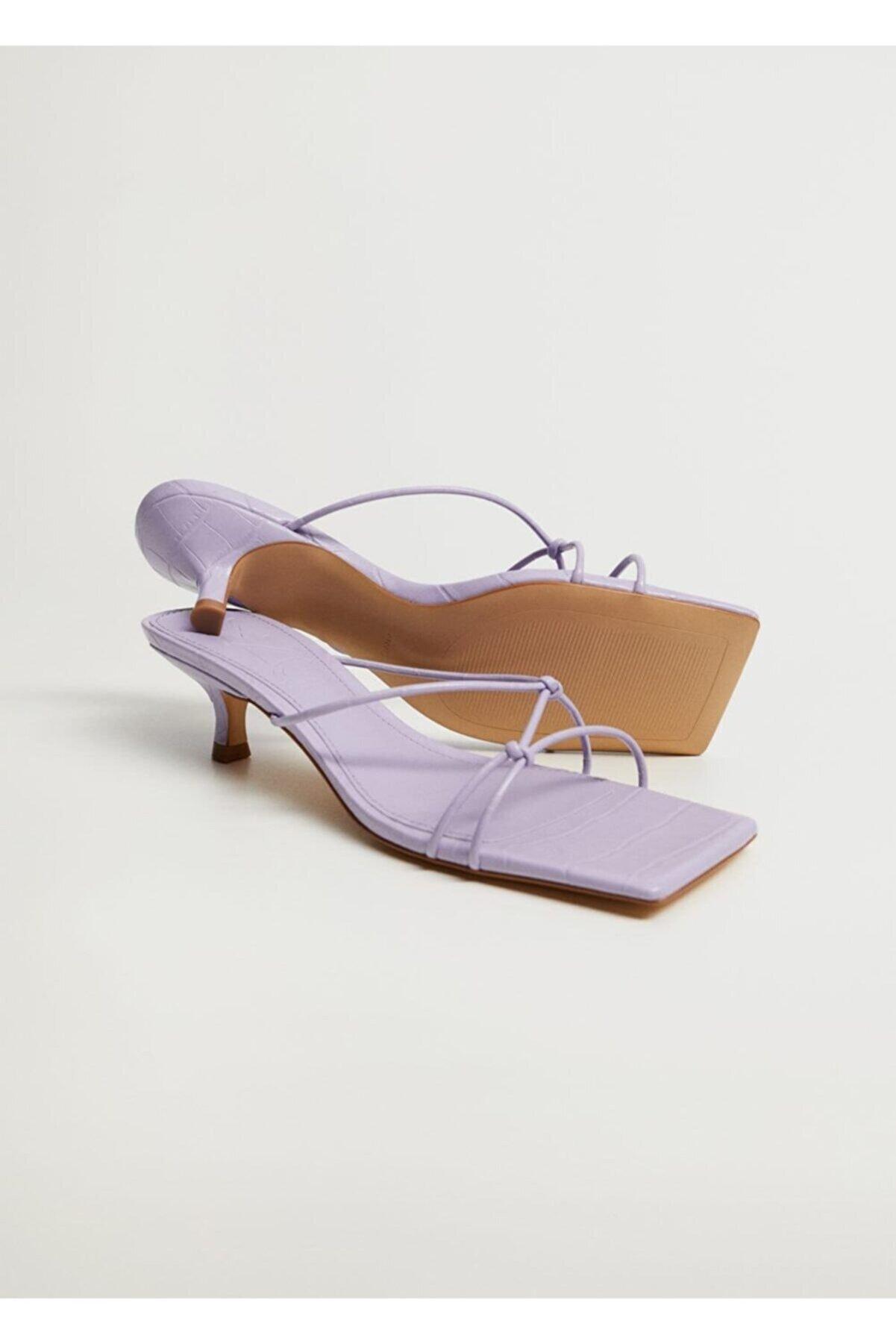 Mango Lilal Düğümlü Topuklu Sandalet