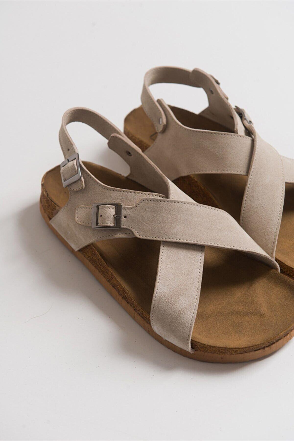luvishoes 201 Hakiki Deri Buz Süet Kadın Sandalet