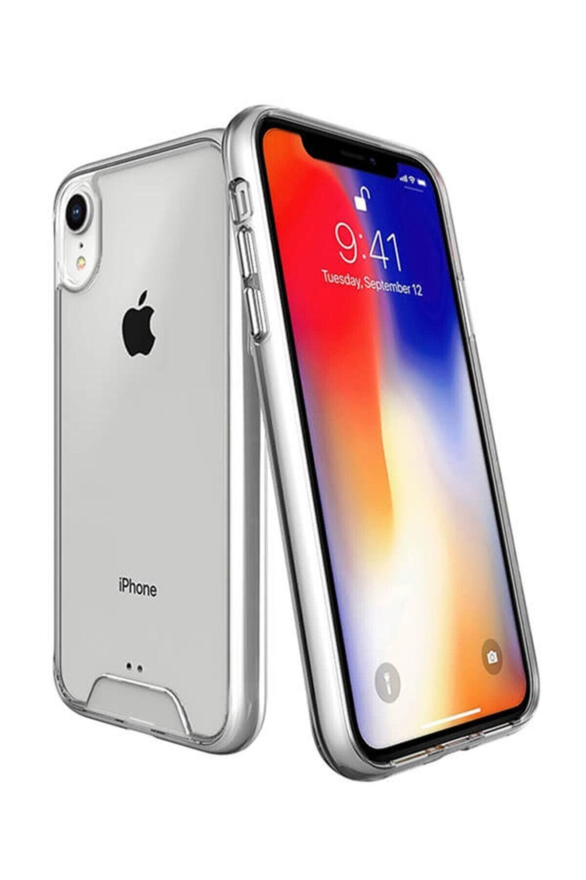 NewFace Apple Iphone Xr Lüx Şeffaf Silikon Kılıf + Ekran Koruyucu Kırılmaz Cam