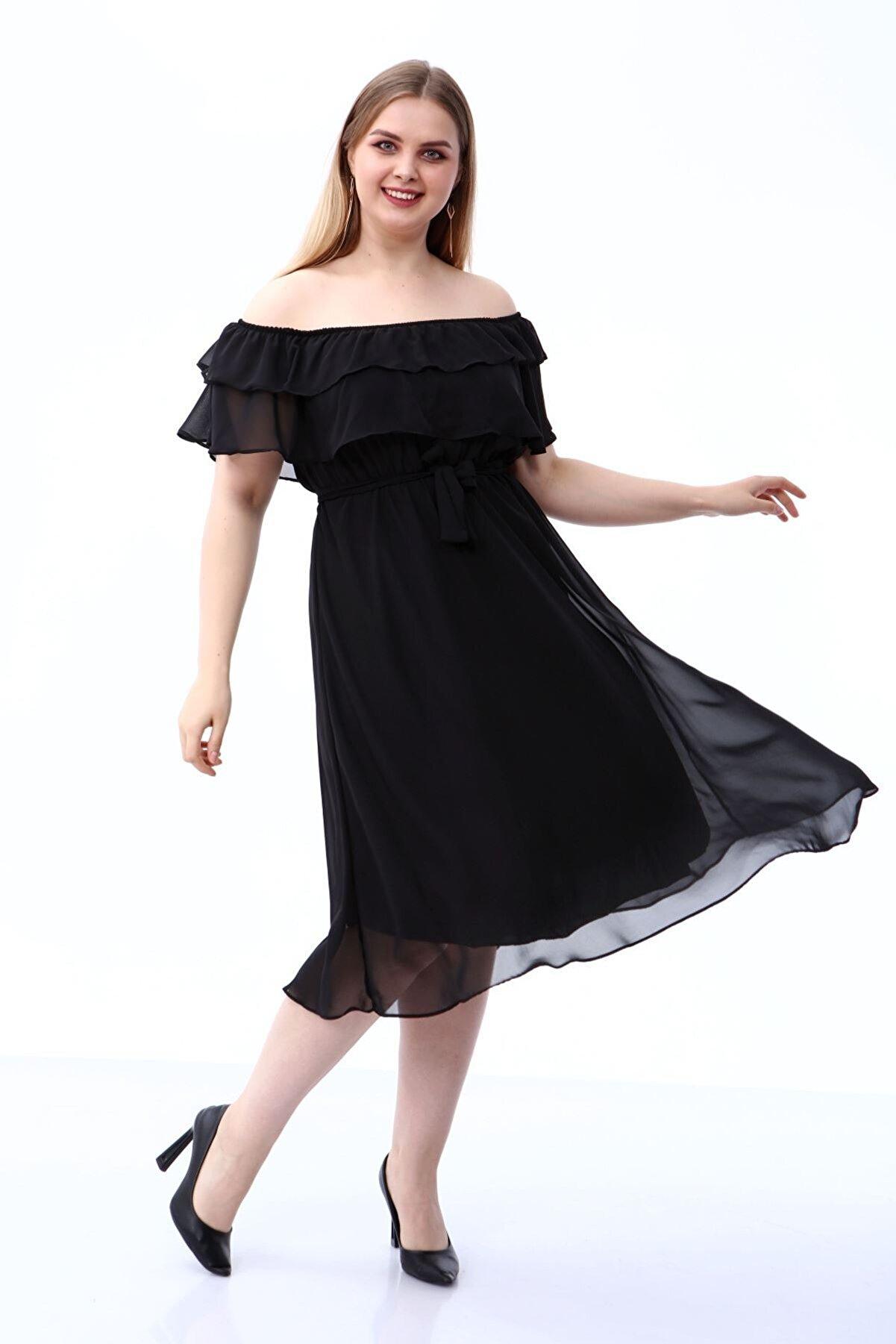 Modayız Karmen Yaka Büyük Beden Şifon Elbise 30a-1810