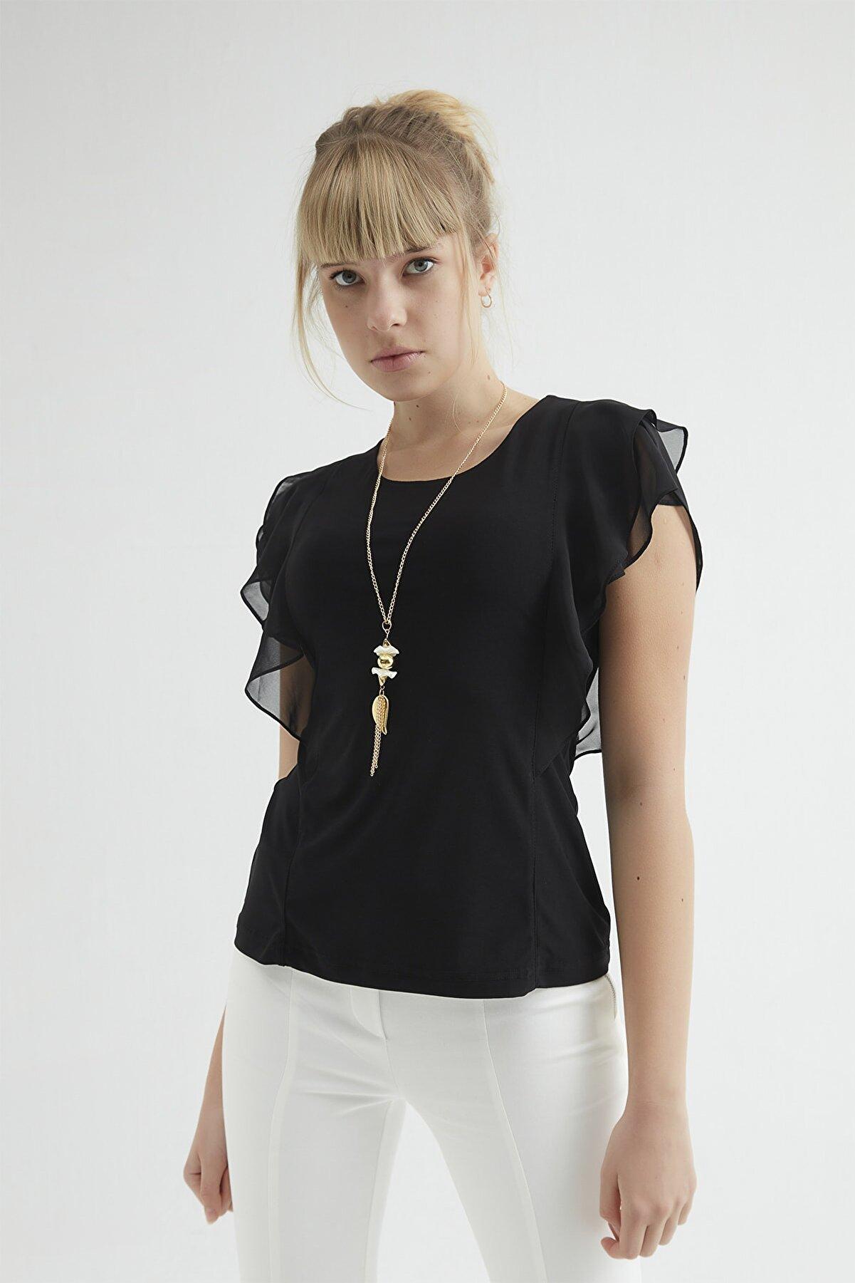 RB CLUB Kadın Siyah Kolyeli Şifon Bluz